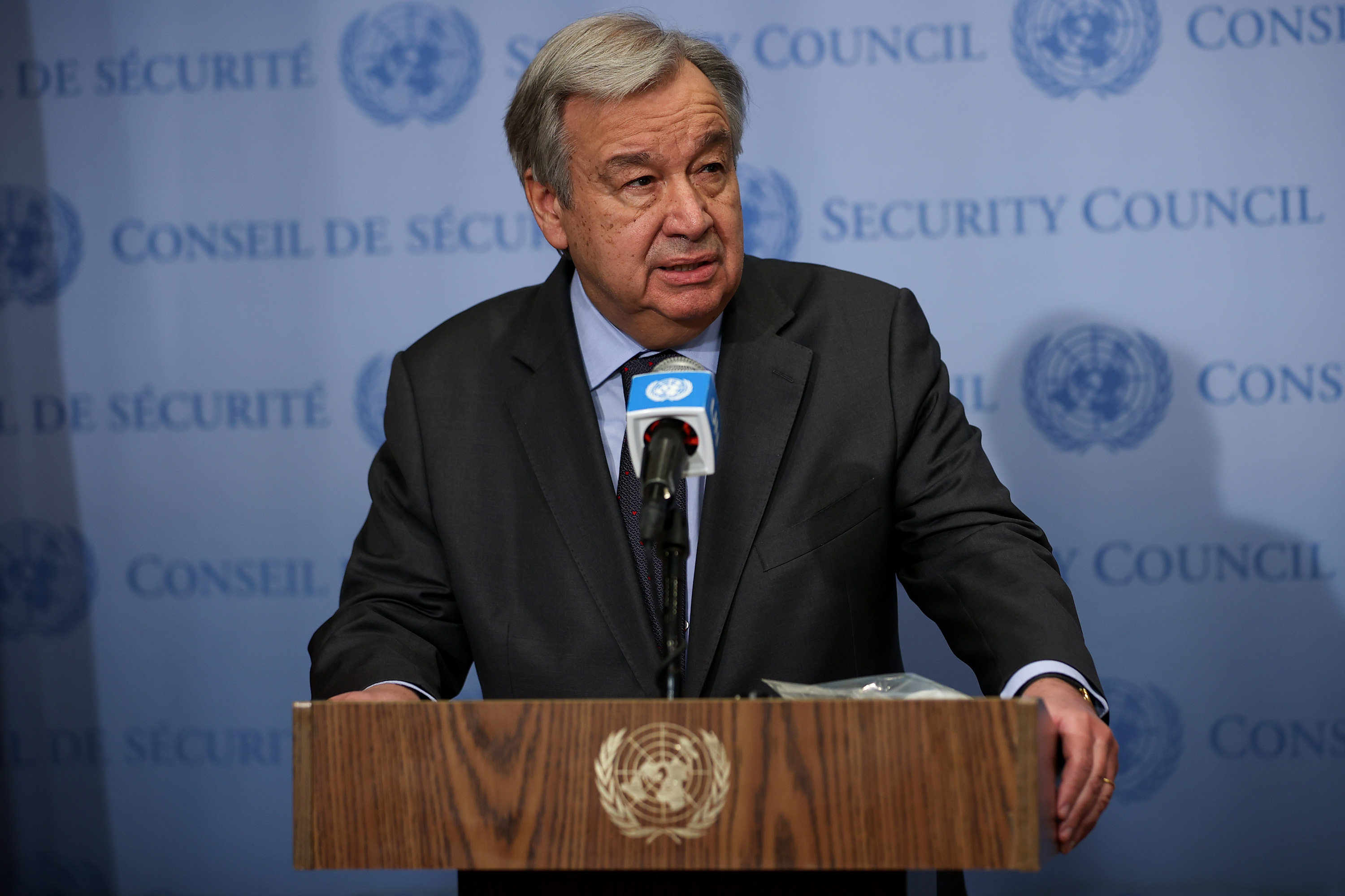 Secretary General of United Nations António Gutierrez speaks to press at the United Nations Headquarters in New York City on March 10.
