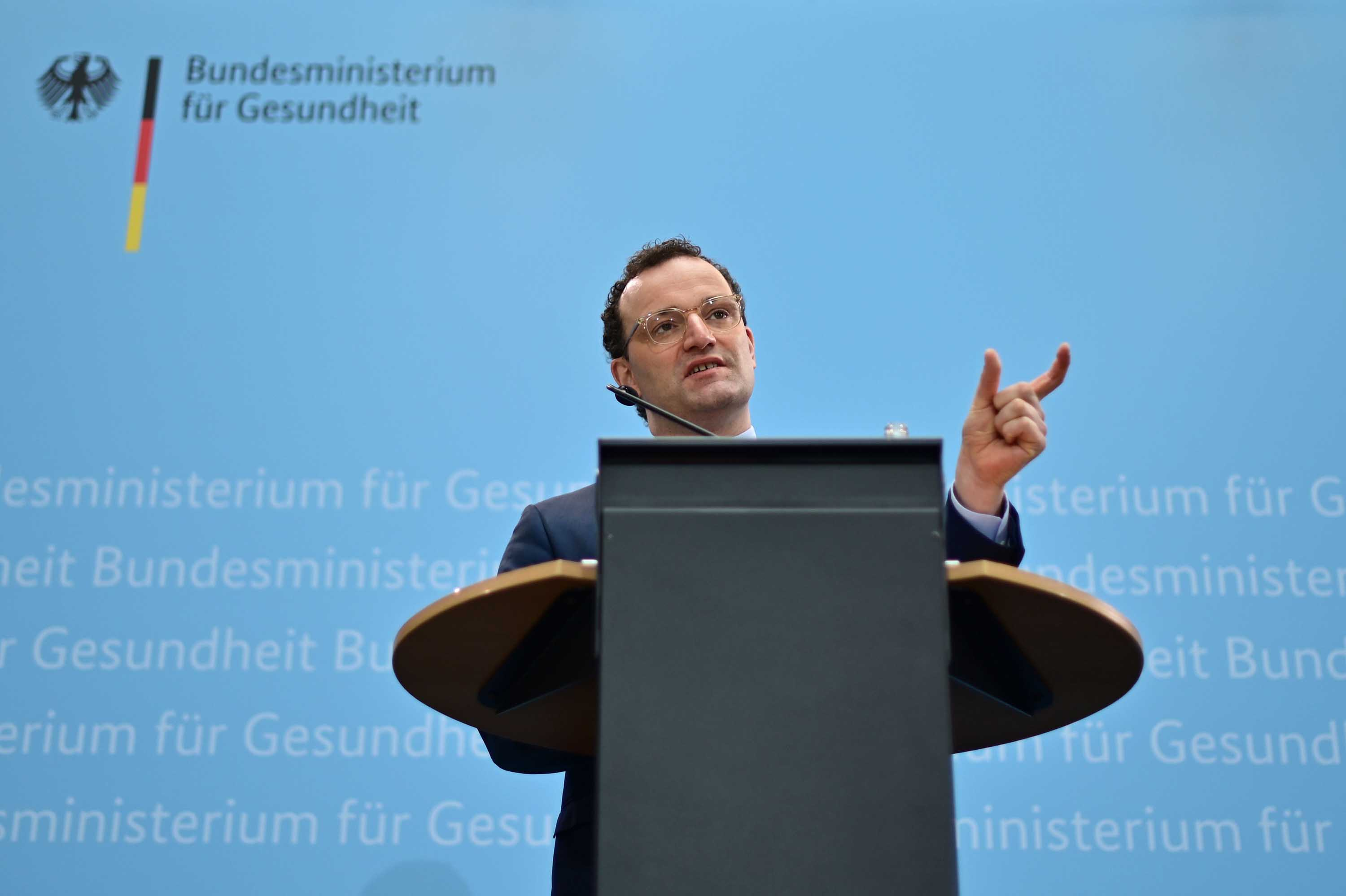 German Health Minister Jens Spahn addresses a press conference on coronavirus mutations and rapid tests in Berlin, Germany, on February 17.