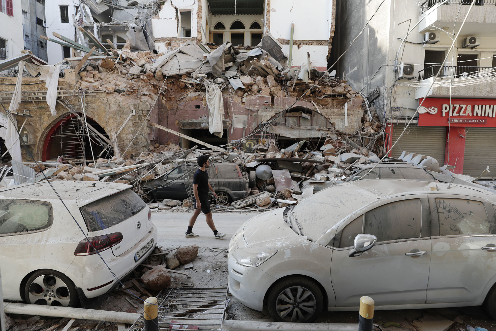 Destruction is seen after a massive explosion in Beirut, Lebanon, on Wednesday, August 5.
