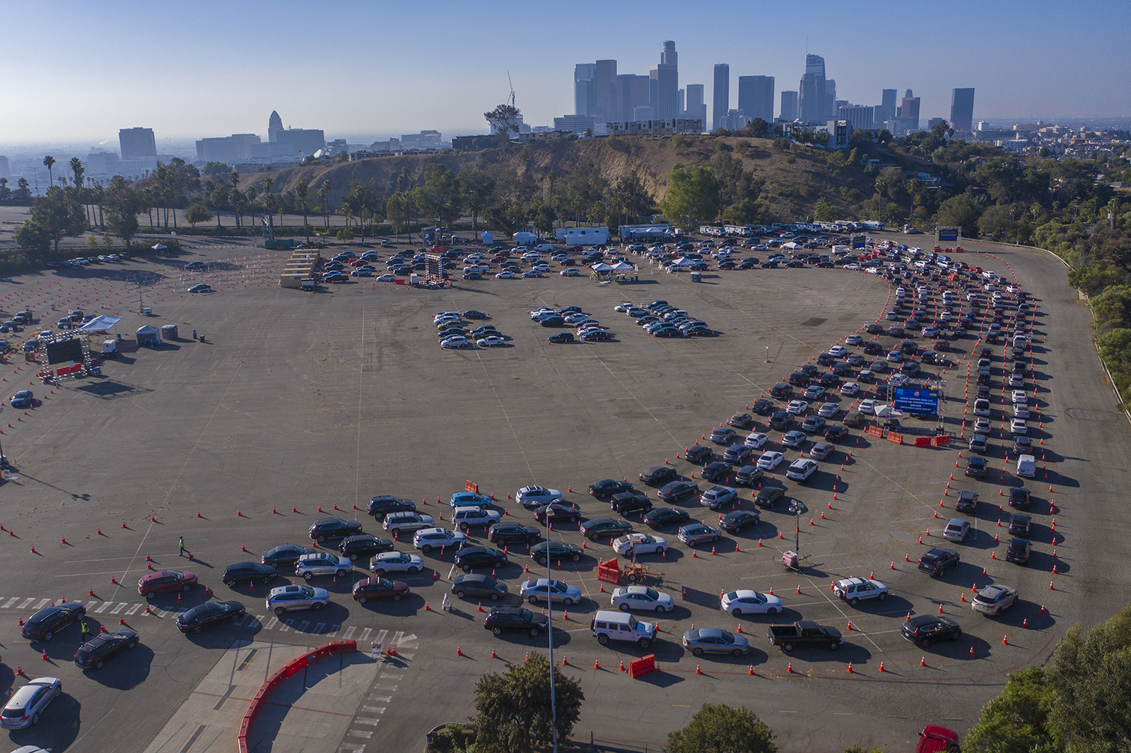 In an aerial view from a drone, cars line up at Dodger Stadium for Covid-19 testing on November 14, in Los Angeles, California.