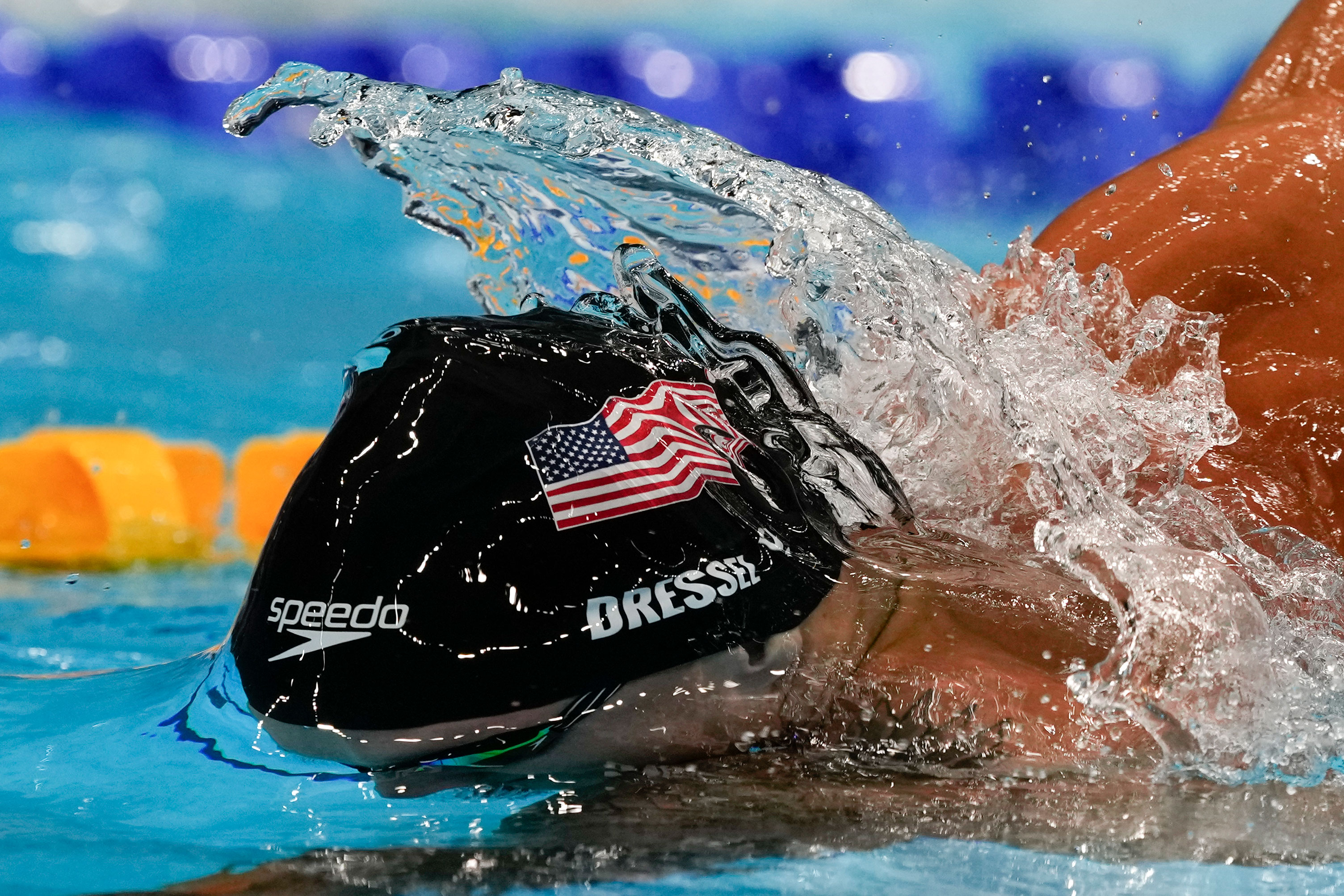 American Caeleb Dressel swims in the 100-meter freestyle on July 29.