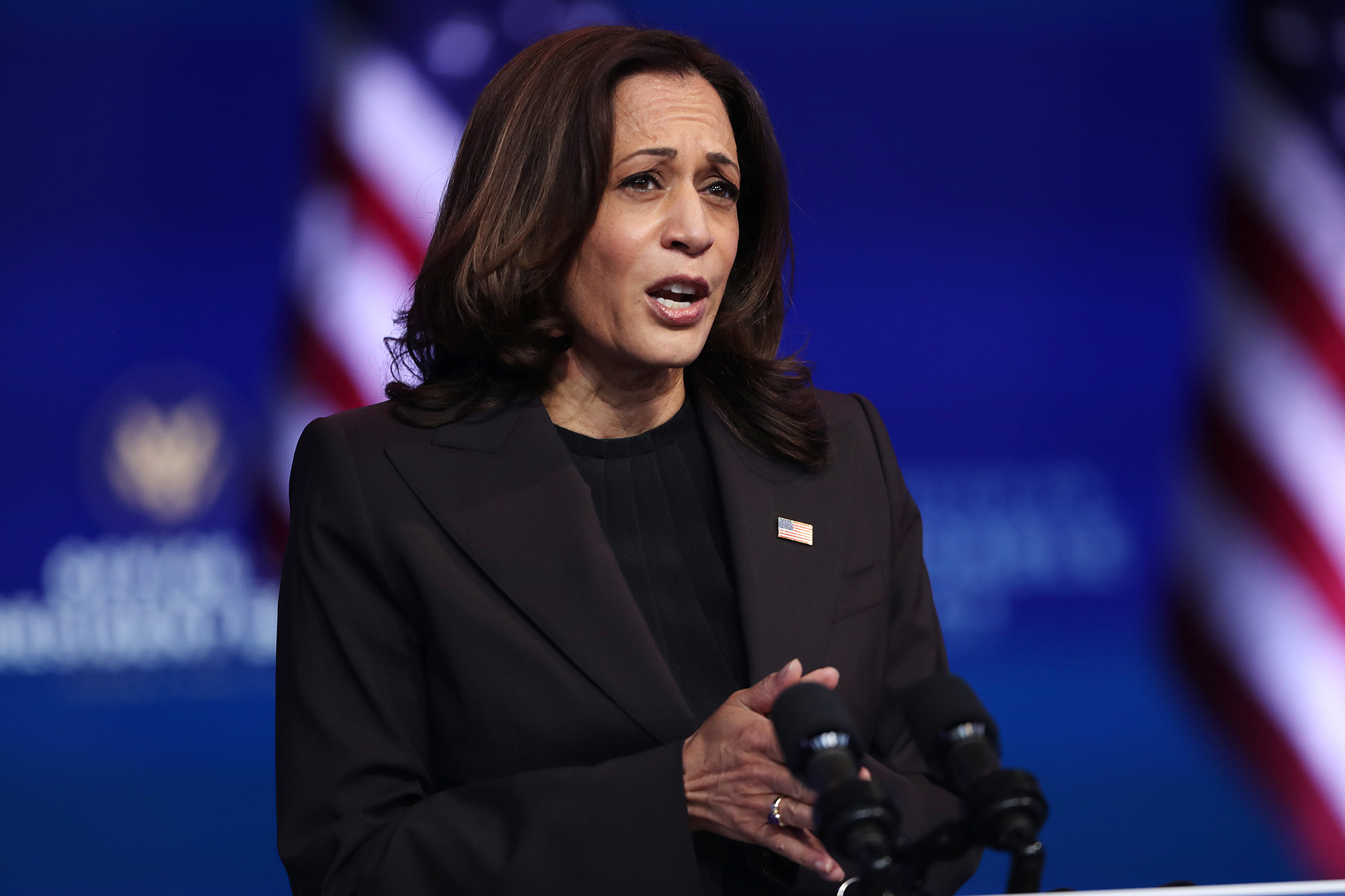 Vice President-elect Kamala Harris addresses the press on November 10, at the Queen Theater in Wilmington, Delaware.