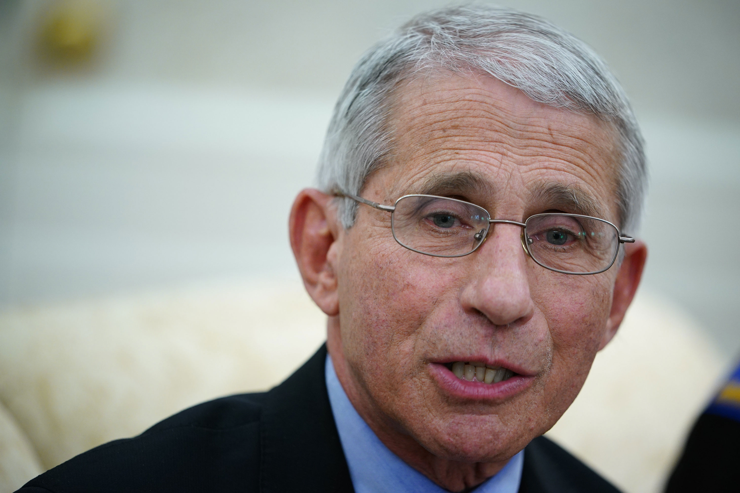 Dr. Anthony Fauci, director of the National Institute of Allergy and Infectious Diseases speaks during a meeting in the Oval Office of the White House in Washington on April 29.