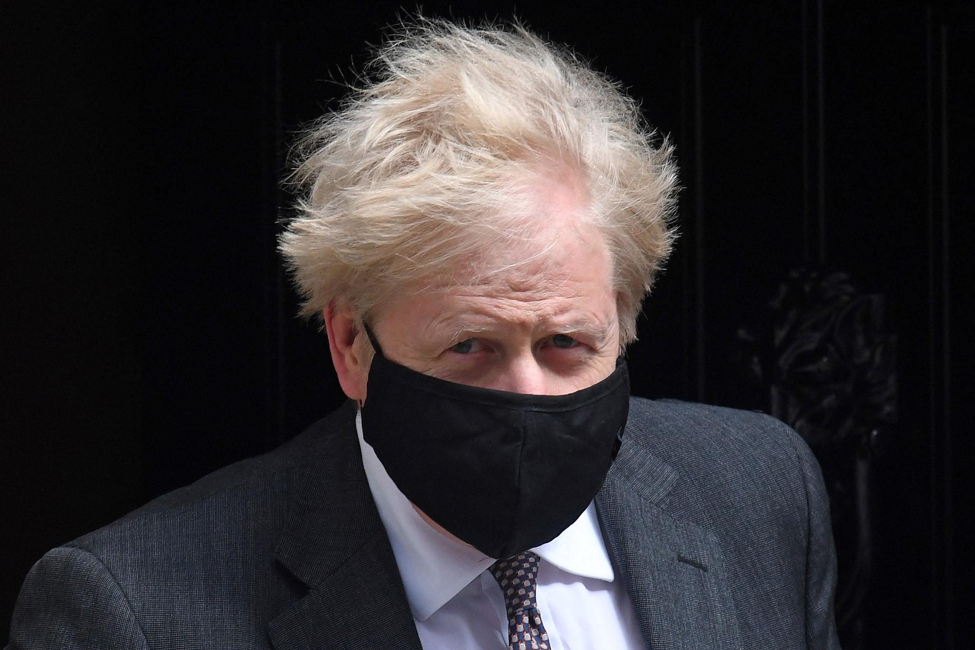 Britain's Prime Minister Boris Johnson leaves 10 Downing Street in London on April 21.