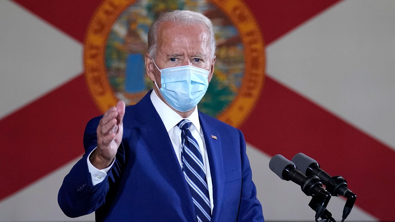 Democratic presidential nominee Joe Biden speaks at Southwest Focal Point Community Center on October 13 in Pembroke Pines, Florida