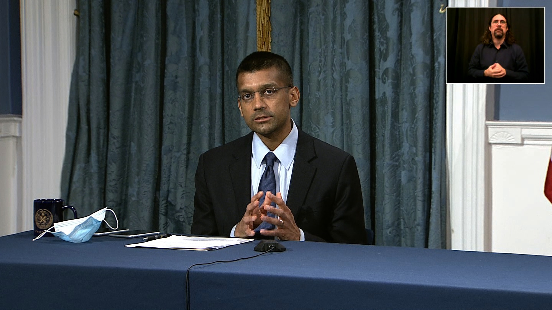 New York City's Department of Health Commissioner Dave Chokshi speaks during a news conference in New York on November 24.