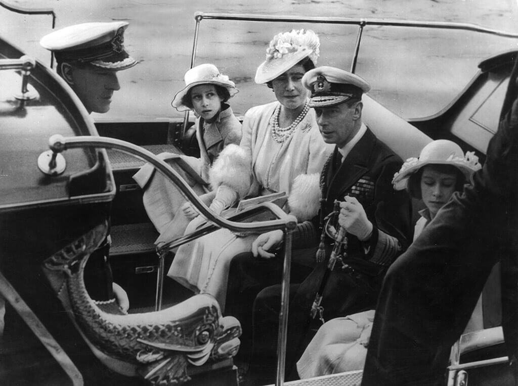 The royal family arrive at the Royal Naval College in Dartmouth in 1939. Left to right are Prince Philip, Princess Margaret, Queen Elizabeth, King George VI and Princess Elizabeth. The young Princess Elizabeth would be dazzled by the young naval cadet on this visit.