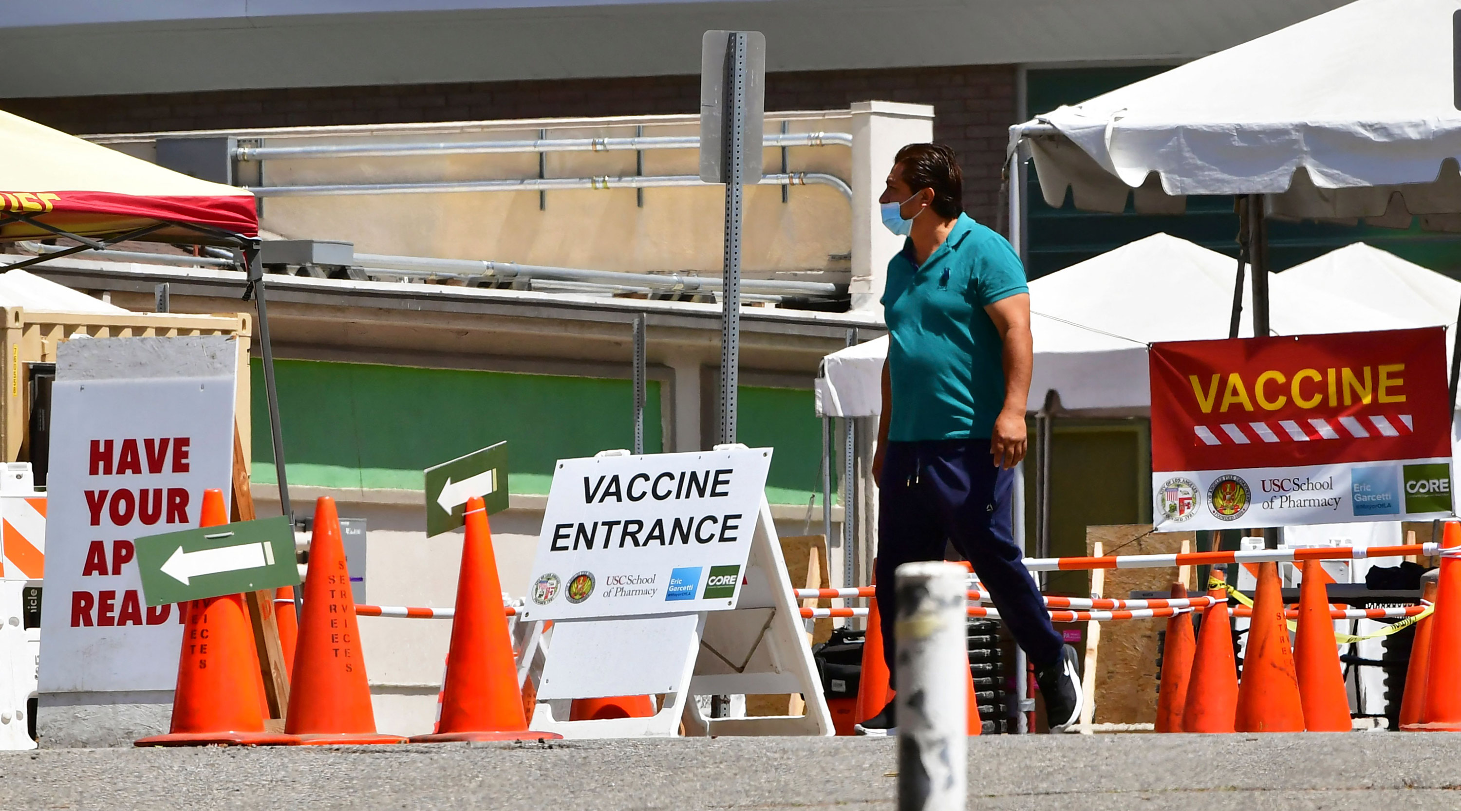 A man arrives at a Covid-19 vaccine facility in Los Angeles on May 3.