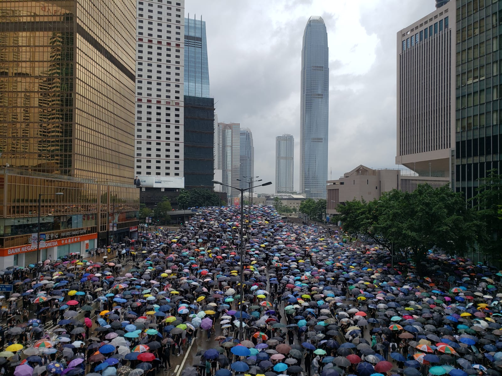 Protesters put up their umbrellas as rain falls in Hong Kong.