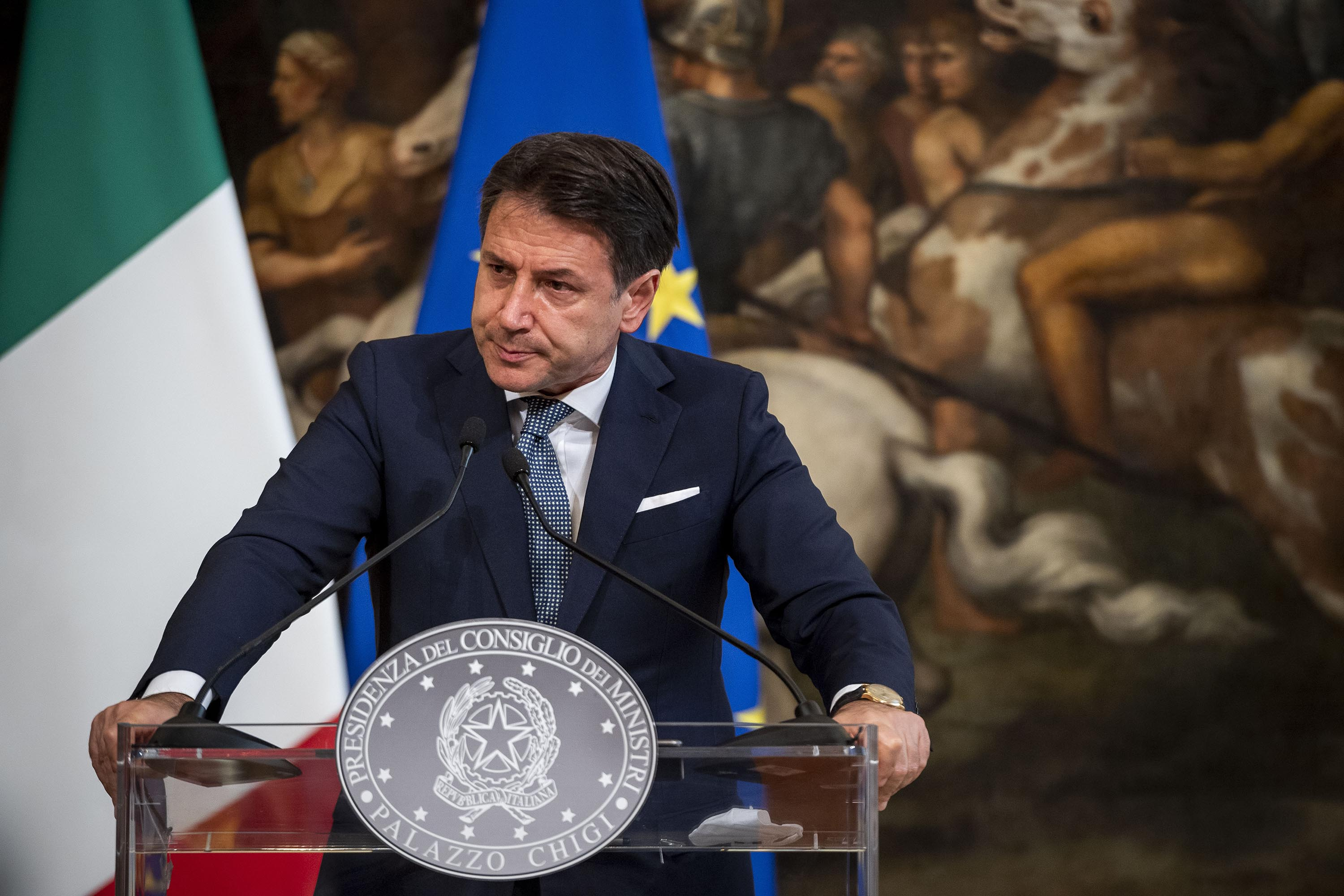 Italian Prime Minister Giuseppe Conte is pictured at a press conference in Rome on September 29.
