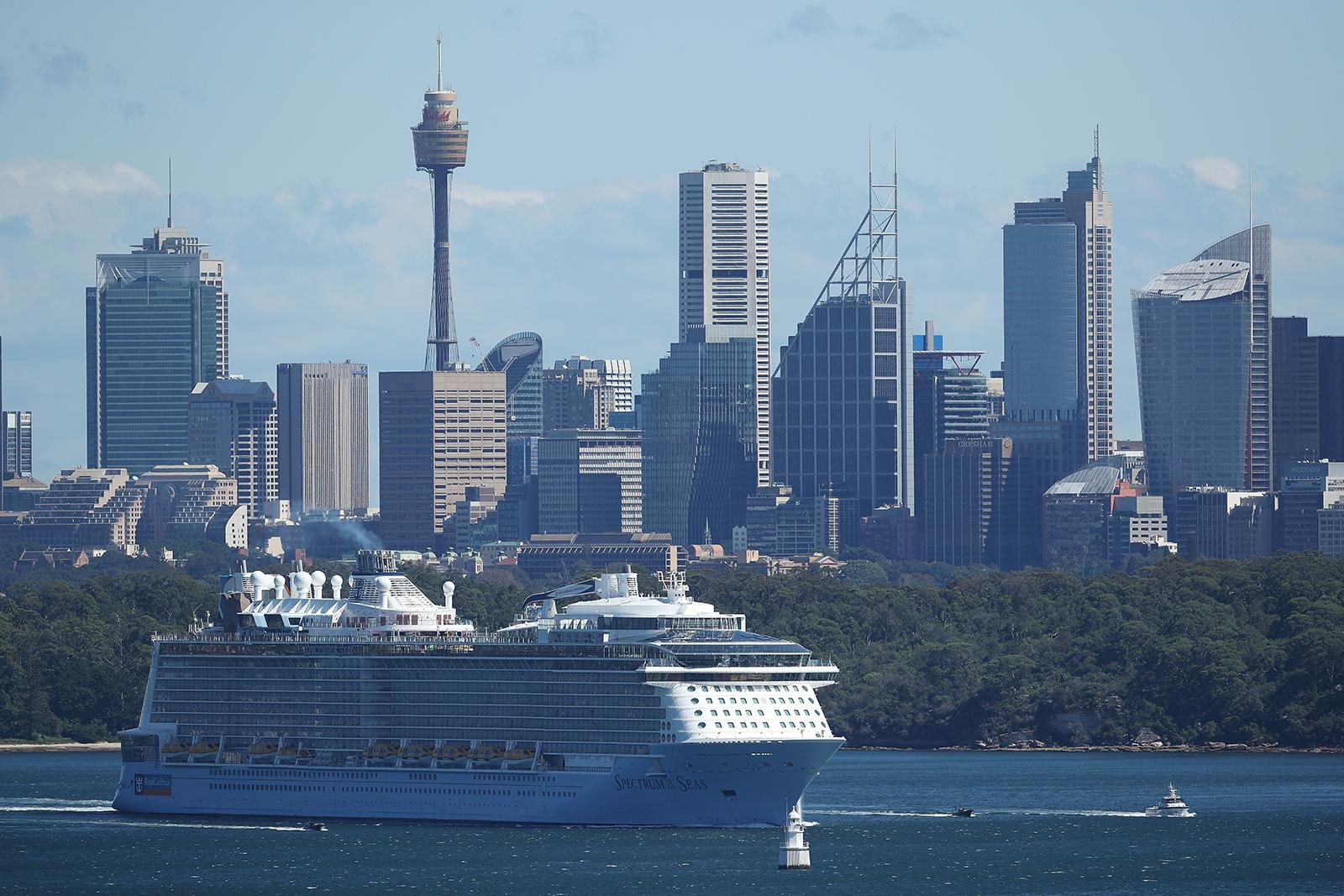 The Spectrum of the Seas cruise ship departs Sydney Harbor on April 4, in Sydney, Australia.