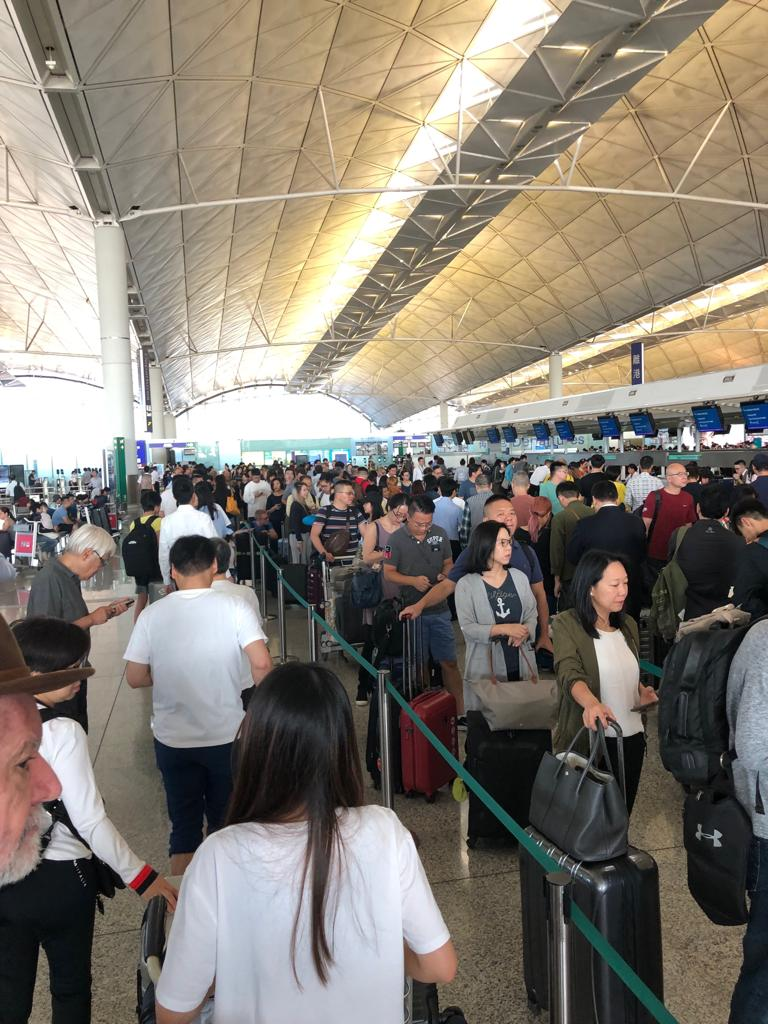 Lines at the airport, which is usually calm on a weekday.