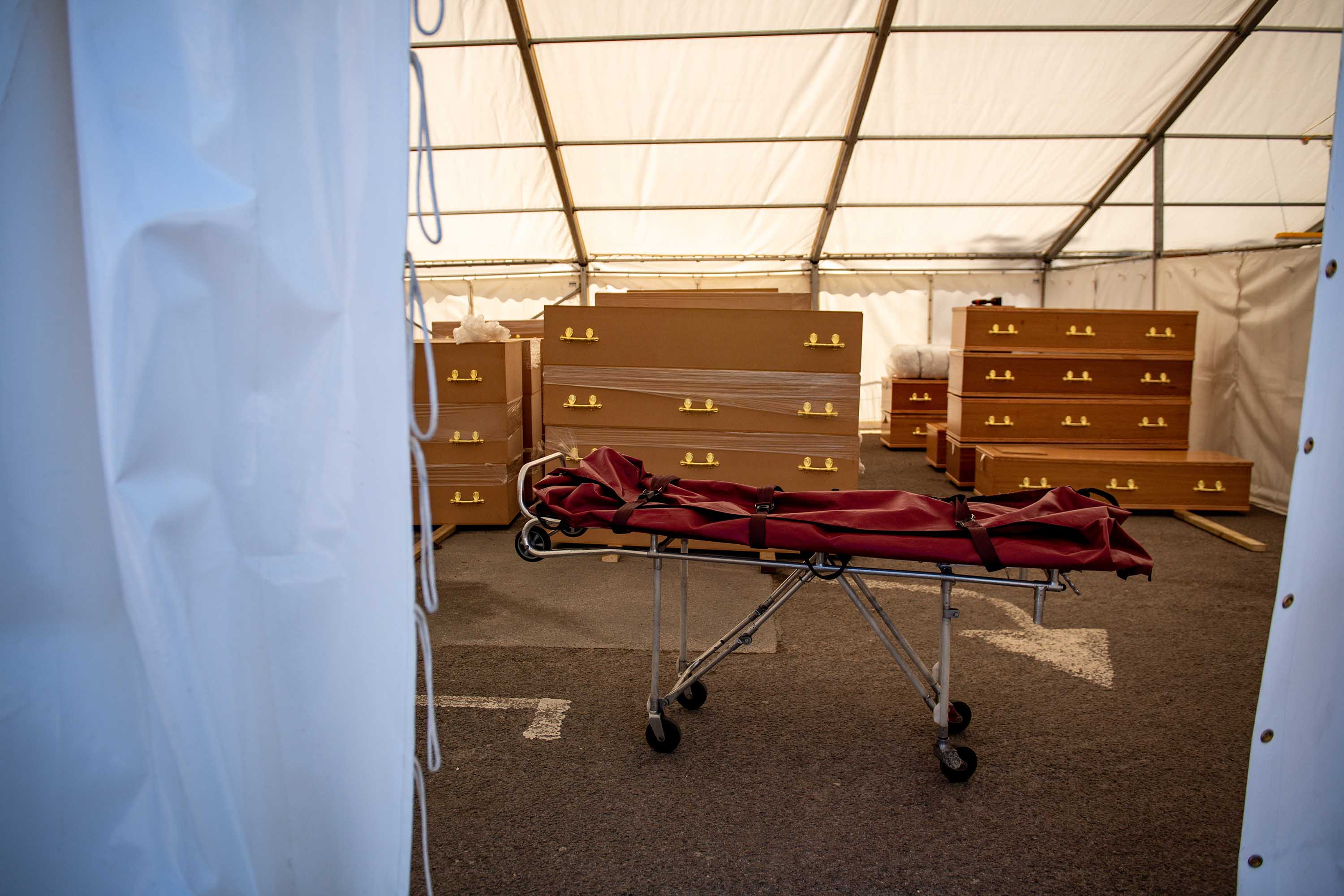 A stretcher which had been used recently to transport a body is pictured at a temporary morgue at a mosque in Birmingham, England, on April 20.