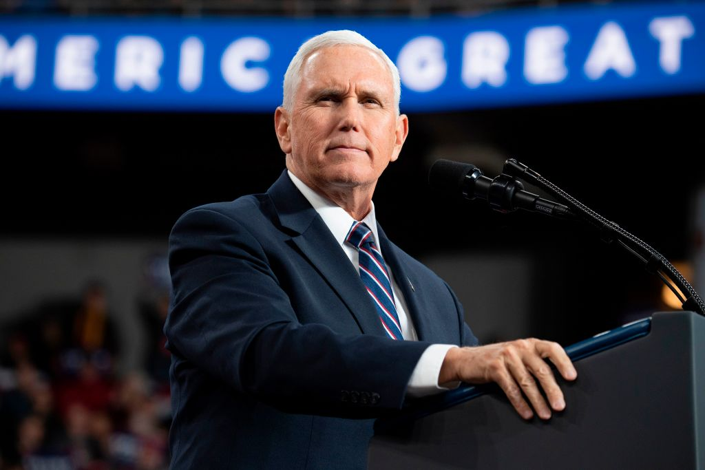 "Vice President Mike Pence speaks during a ""Keep America Great"" campaign rally in Toledo, Ohio, on January 9, 2020."