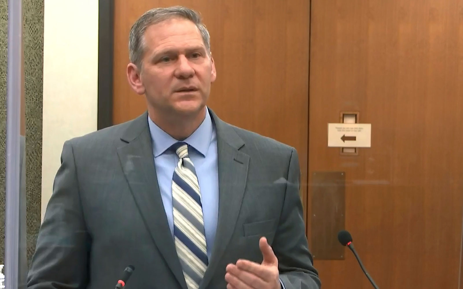 Prosecutor Steve Schleicher speaks during court proceedings on Monday, April 12.