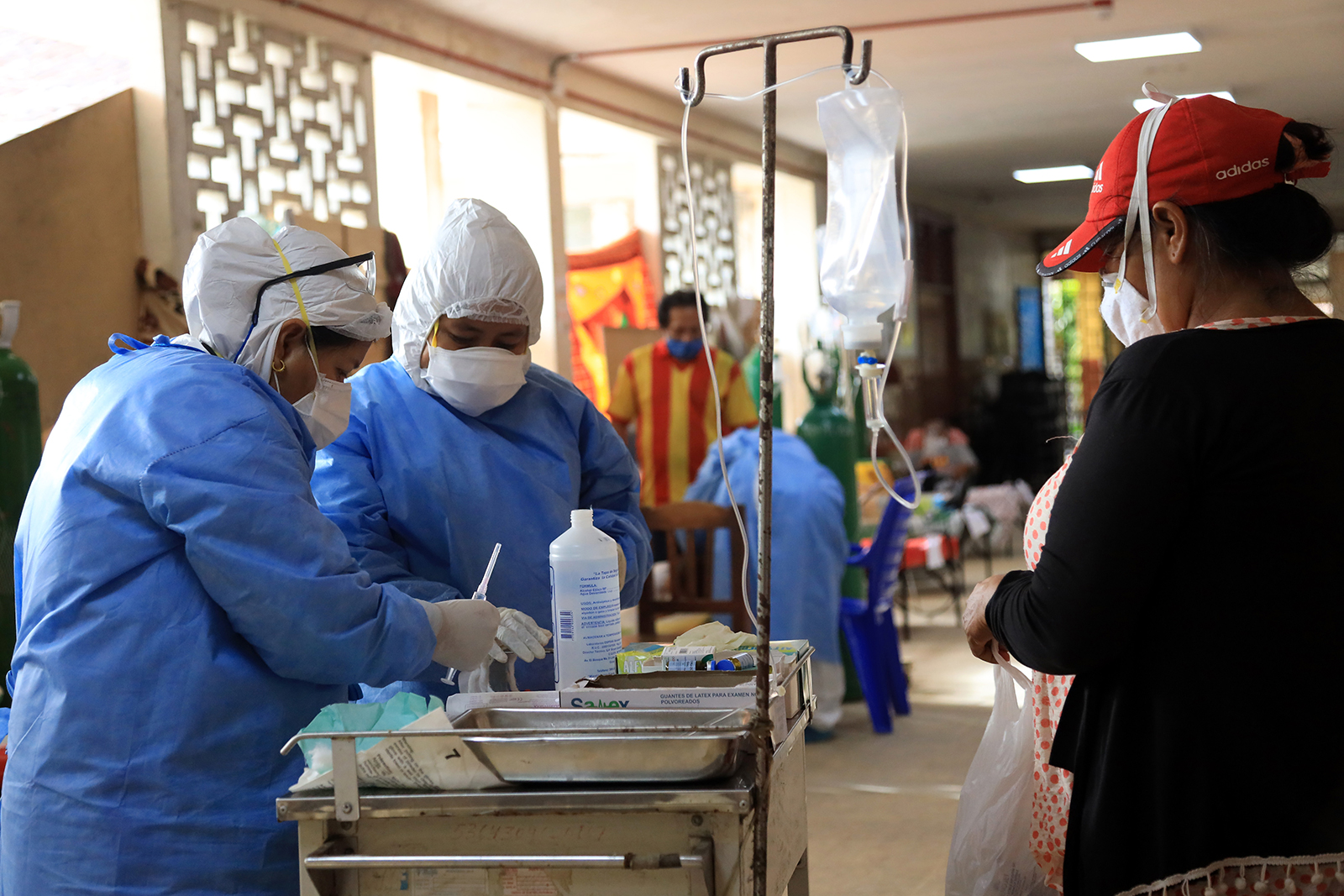 Nurses wearing personal protective equipment (PPE) work at at Regional Hospital of Loreto Felipe Arriola Iglesias in Iquitos, Peru, on May 20.