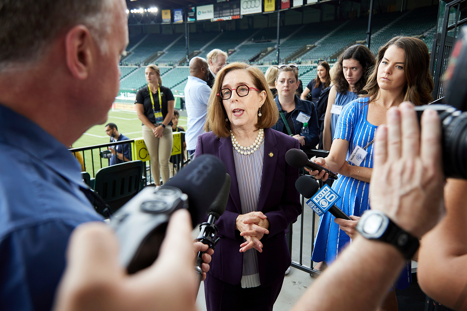 Oregon Governor Kate Brown talks talks with media after announcing the end of the state's Covid-19 restrictions in Portland, Oregon on June 30.