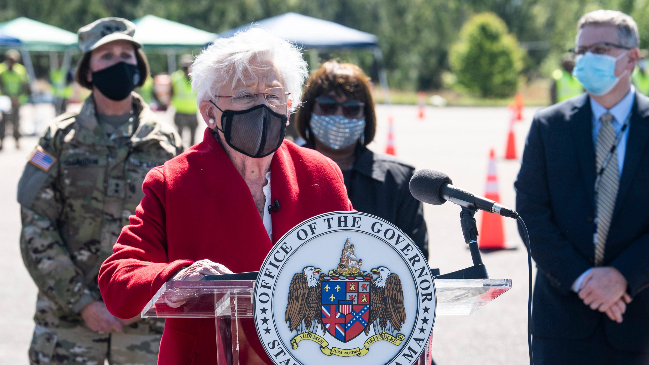 Alabama Gov. Kay Ivey holds a press conference after touring a drive-thru Covid-19 vaccination clinic in Camden, Alabama, on Friday, April 2.