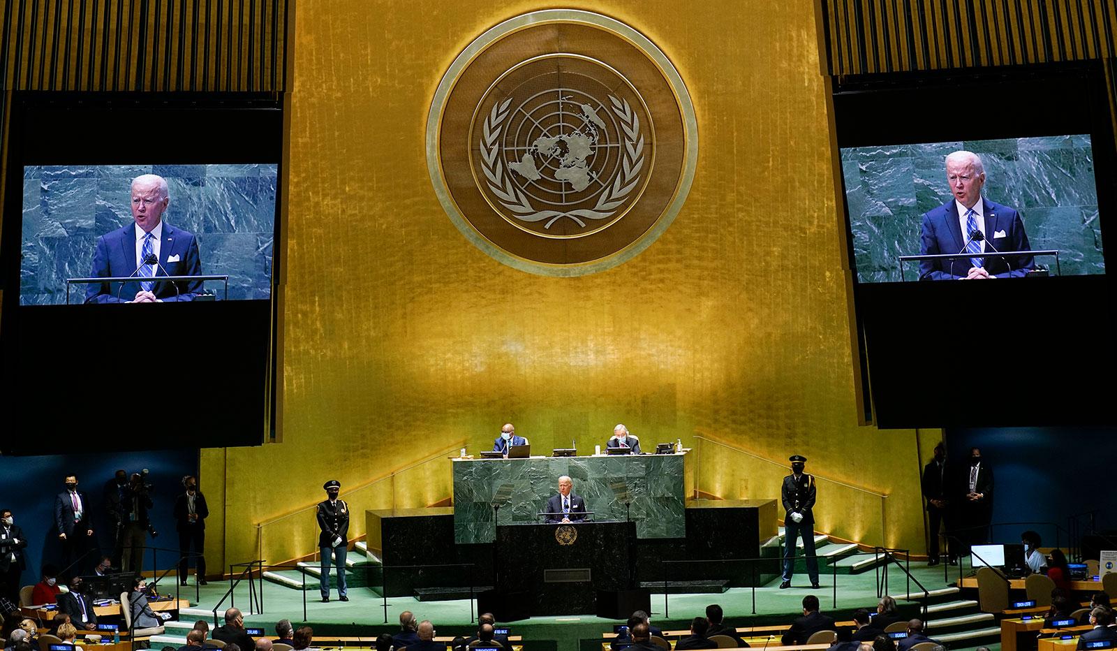 President Joe Biden addresses the United Nations General Assembly on September 21.