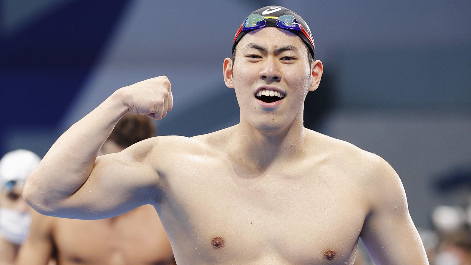 Tomoru Honda of Japan celebrates after winning silver in the 200m butterfly final even on July 28.