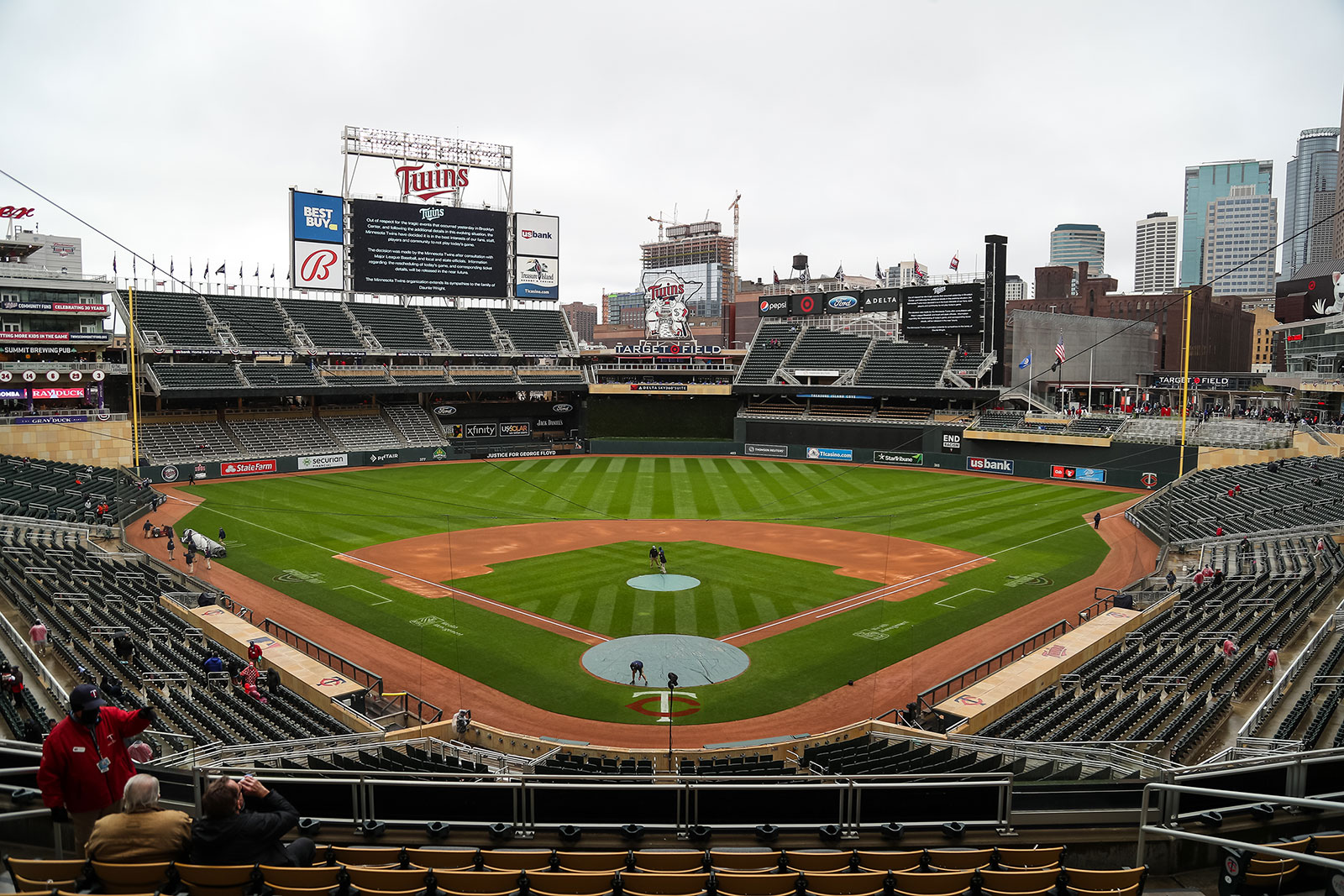 A view of Target Field in Minneapolis following the postponement of Monday's game between the Minnesota Twins and Boston Red Sox.