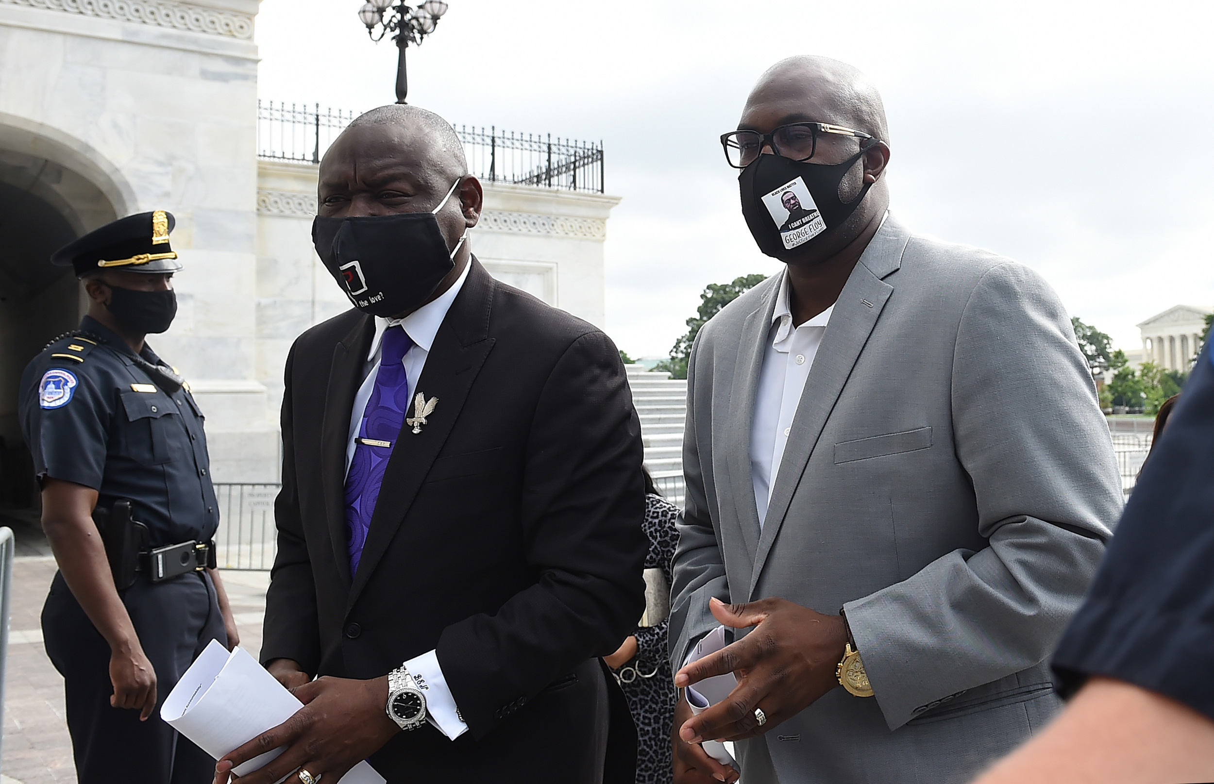 """Philonise Floyd, right, the brother of George Floyd, arrives at the US Capitol to testify at""""Oversight Hearing on Policing Practices and Law Enforcement Accountability"""" in Washington on June 10."""
