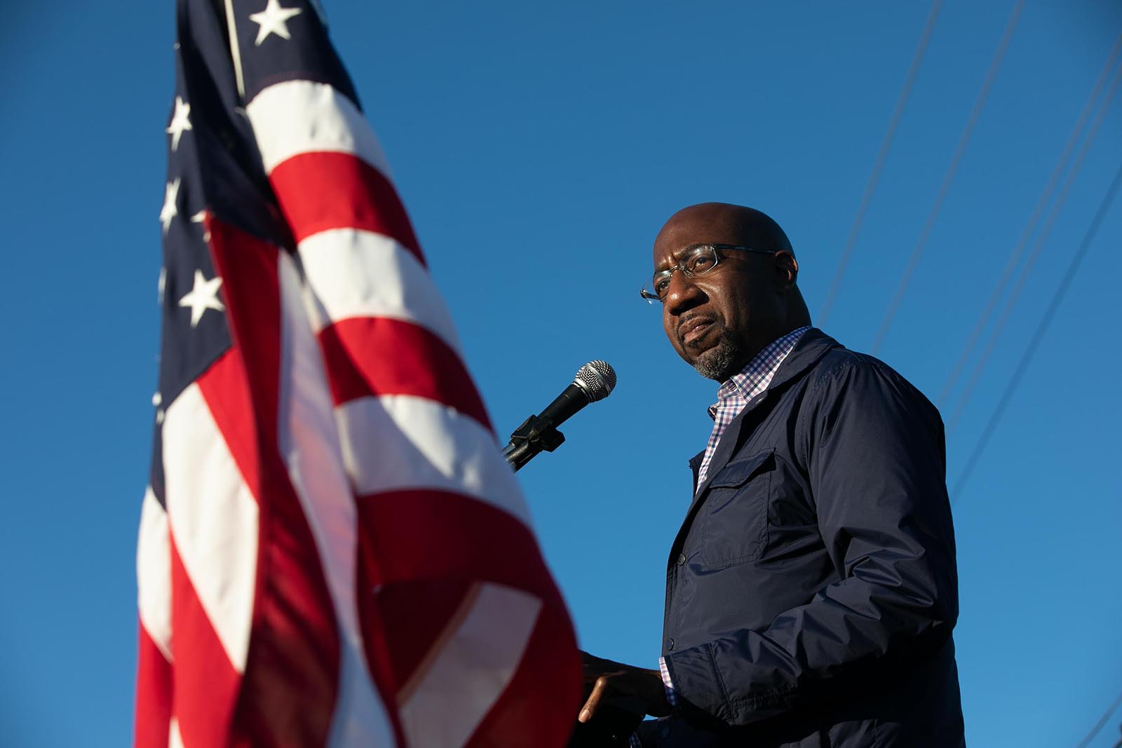 Senate candidate Raphael Warnock of Georgia speaks to supporters during a rally on November 15 in Marietta, Georgia.