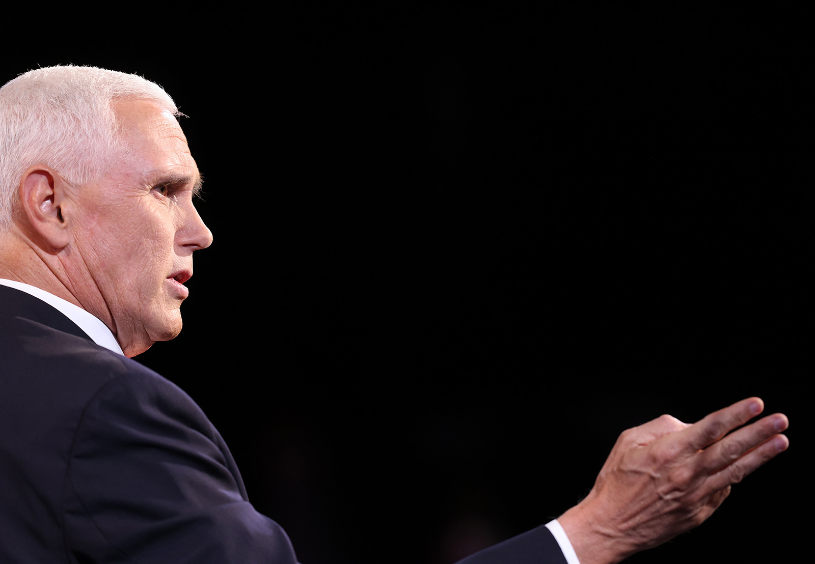 Vice President Mike Pence speaks during the vice presidential debate in Salt Lake City on Wednesday.