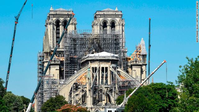 Notre-Dame cathedral undergoes reconstruction works after it was damaged by a huge fire in April.