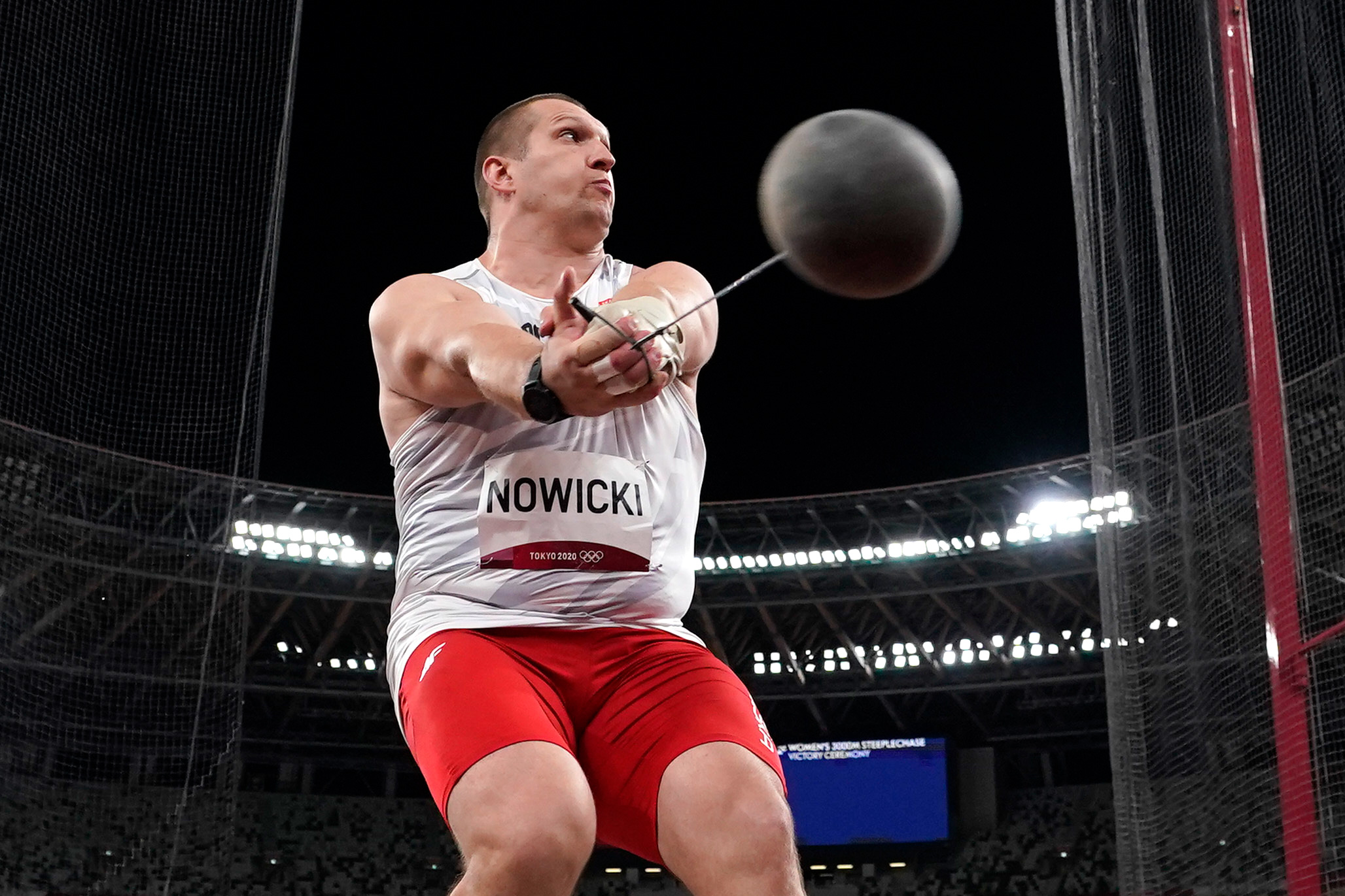 Poland's Wojciech Nowicki competes in the hammer throw final on August 4.