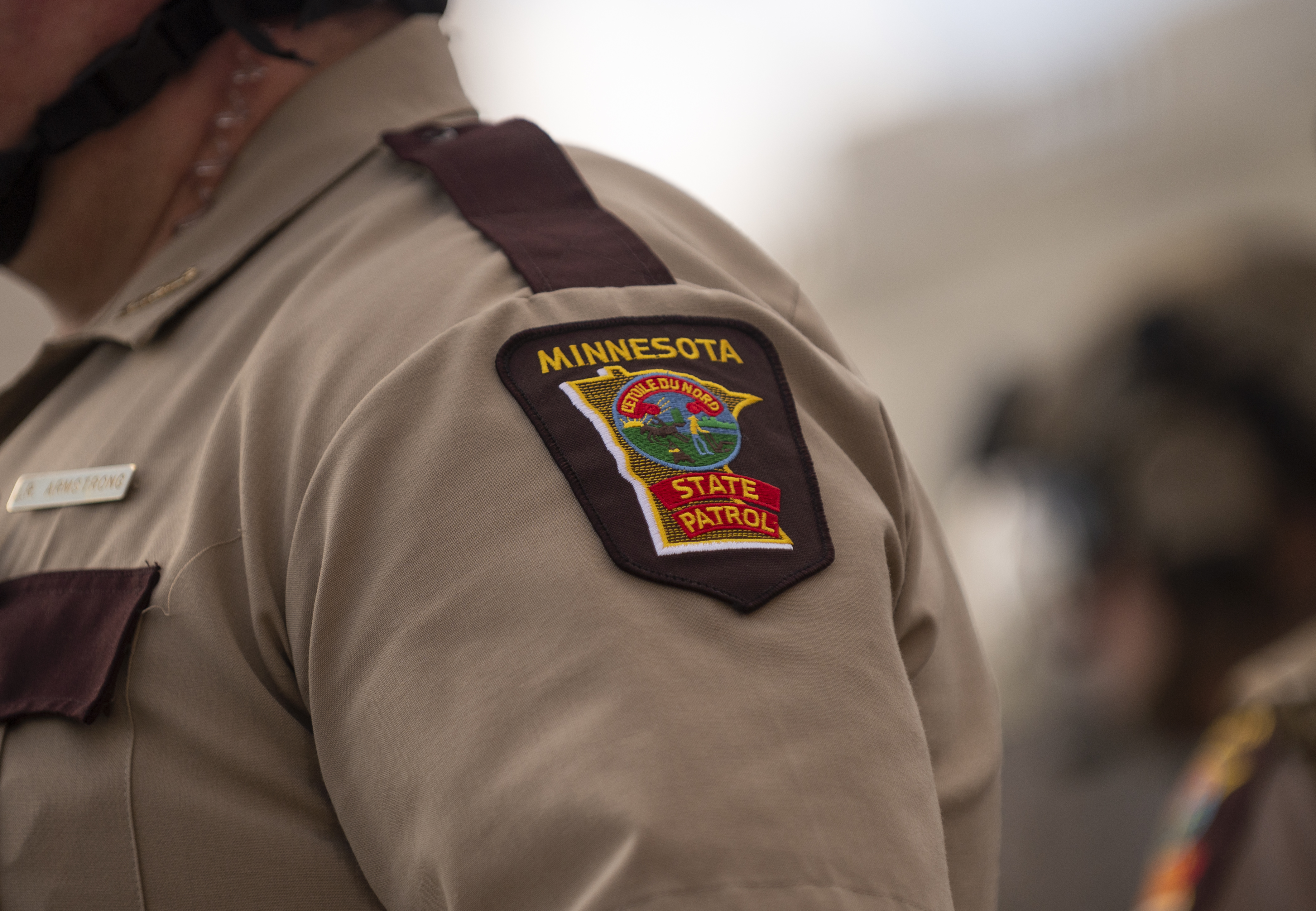 A member of the Minnesota State Patrol stands guard during a demonstration on June 10.