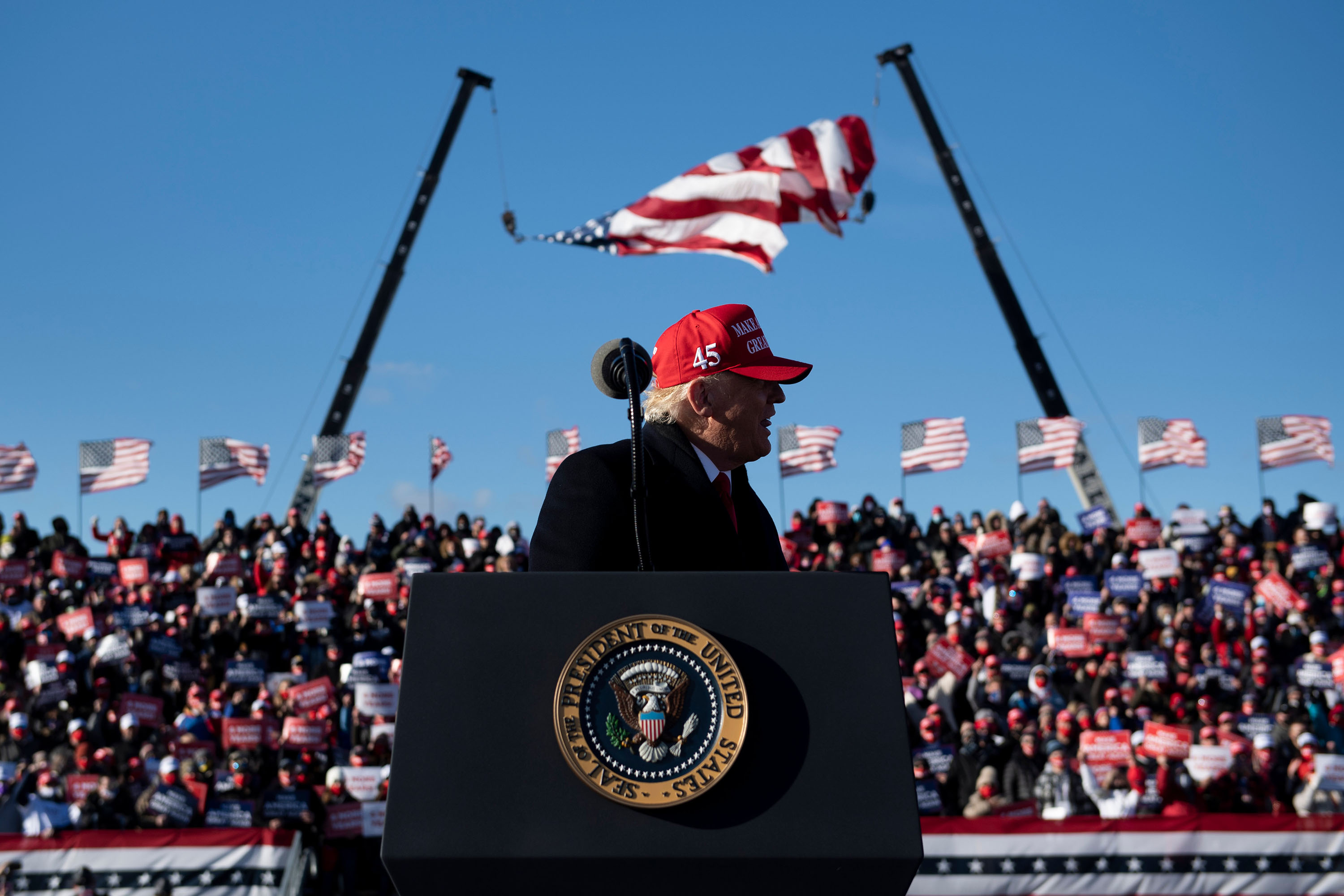 President Donald Trump speaks at a rally at Wilkes-Barre Scranton International Airport in Avoca, Pennsylvania, on Monday, November 2.