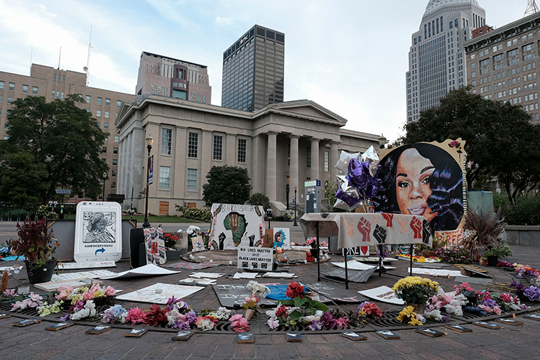 A memorial to Breonna Taylor, placed in Jefferson Square Park, is photographed in downtown Louisville, Kentucky on Wednesday, September 23, as the city anticipates of the results of a grand jury inquiry into the death of Breonna Taylor.