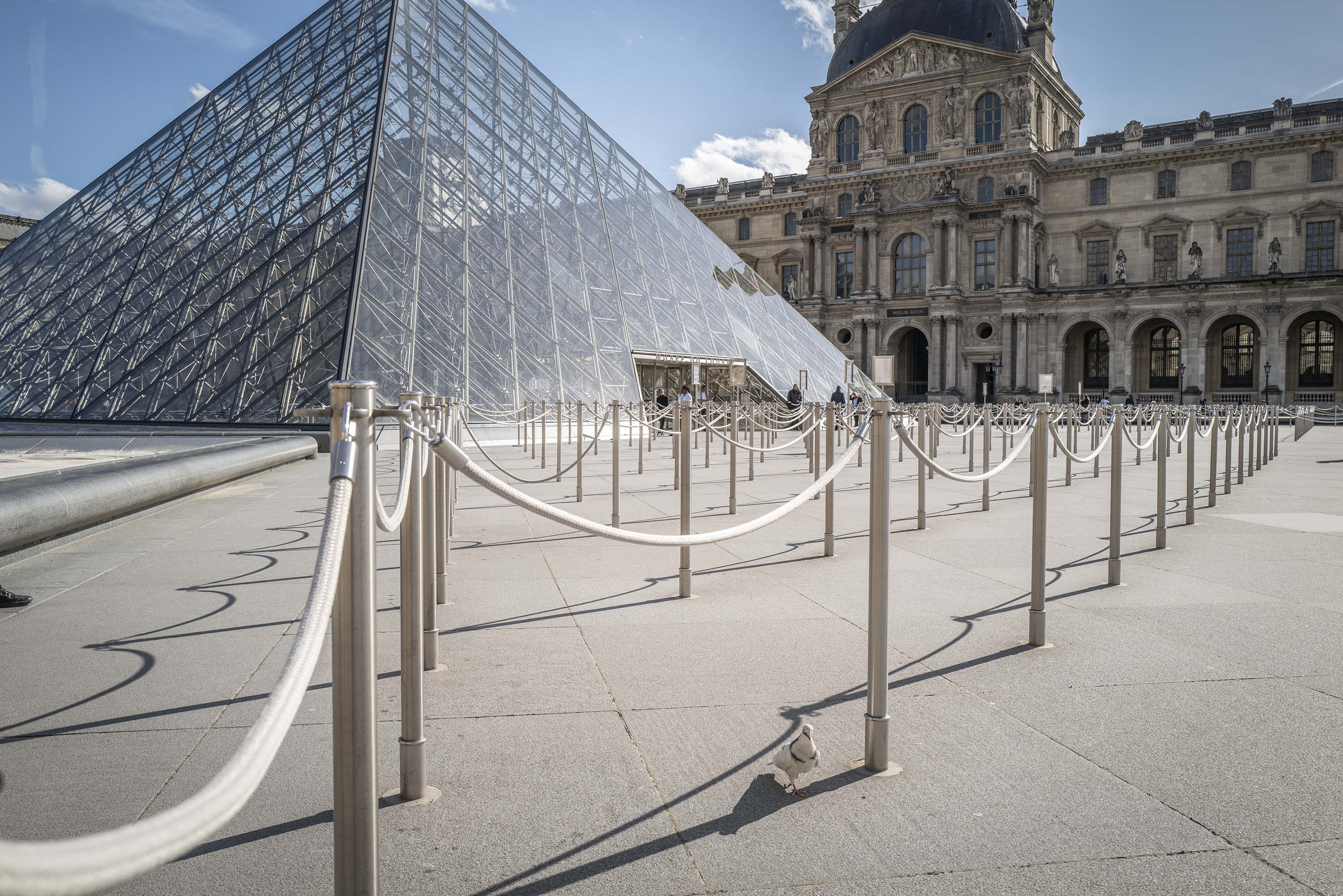 The empty Louvre Museum entrance is pictured on March 15 in Paris, France.