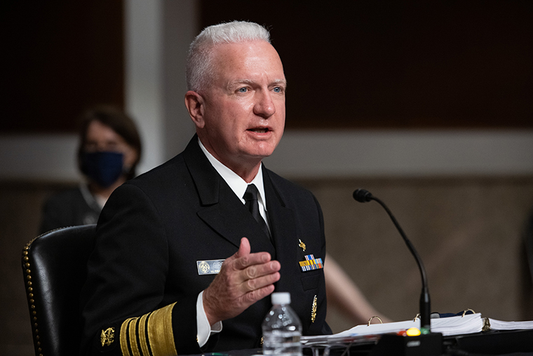 Assistant HHS Secretary for Health Brett Giroir testifying during a US Senate Senate Health, Education, Labor, and Pensions Committee hearing in Washington, DC, on September 23, 2020.