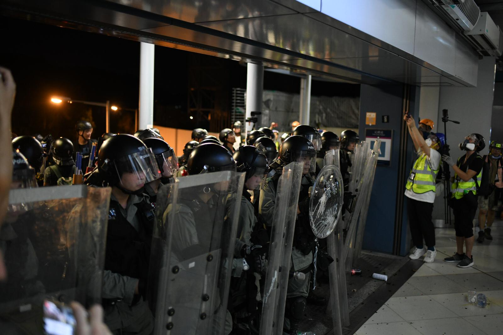 Police block the entrance o