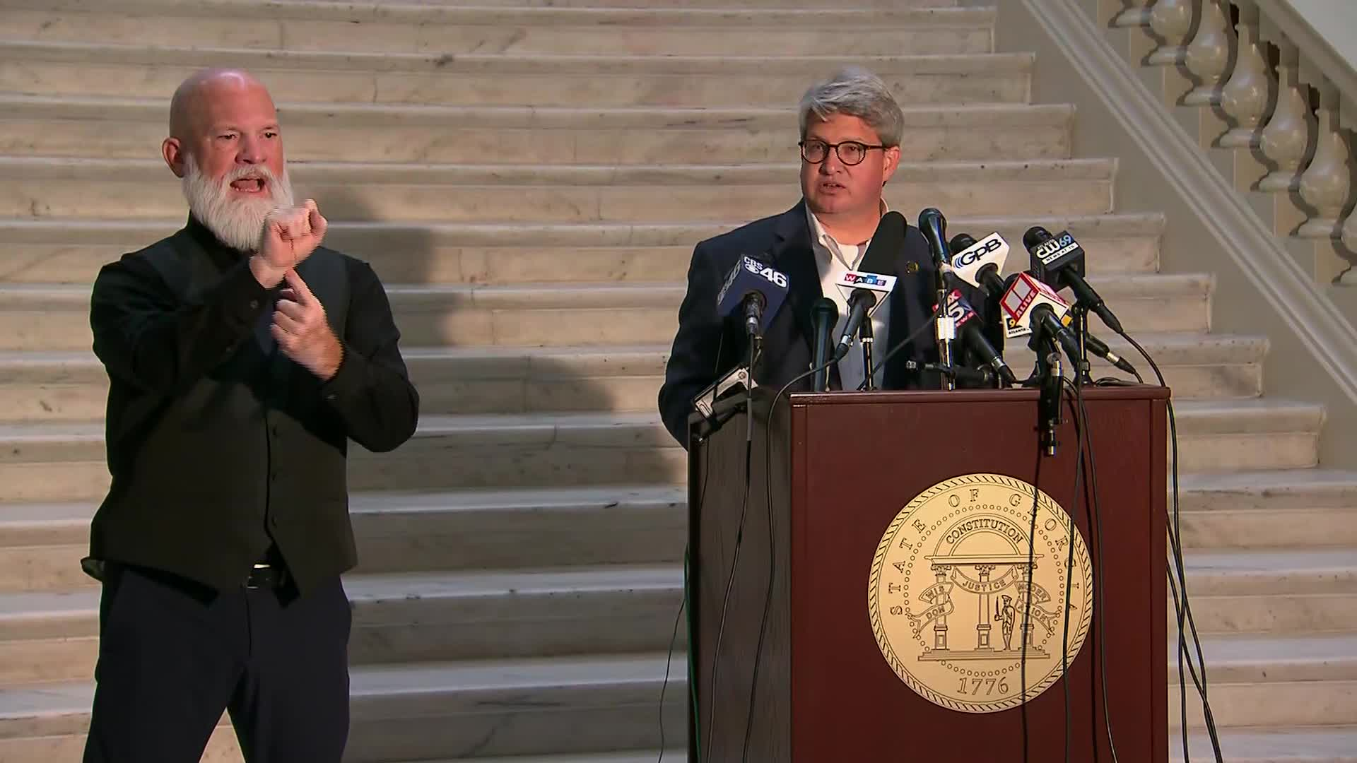 Georgia's Voting Implementation Manager Gabriel Sterling, right, speaks during a press conference in Atlanta on November 9.