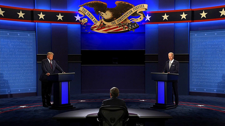 President Donald Trump and Democratic presidential nominee Joe Biden begin the first presidential debate at the Health Education Campus of Case Western Reserve University on September 29, in Cleveland, Ohio.