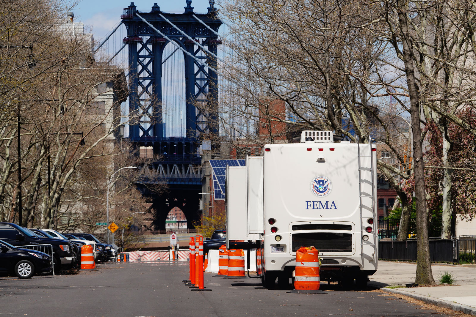 A FEMA trailer sits in Brooklyn, New York, on April 11.