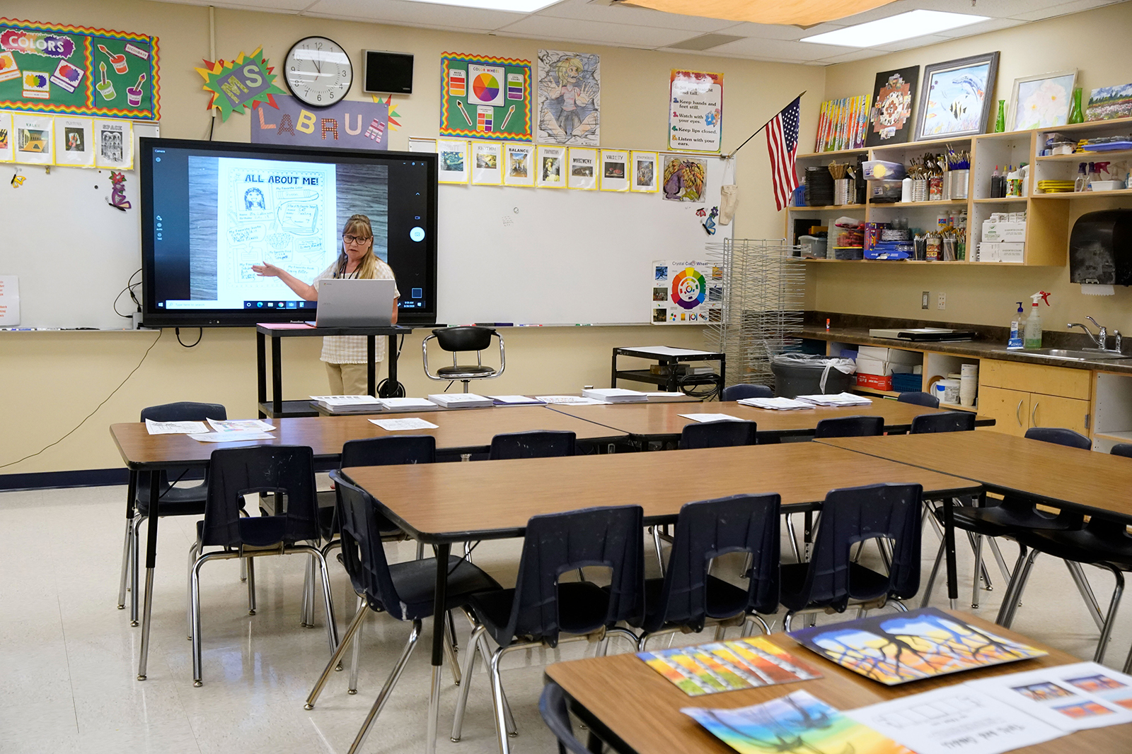 An art teacher gives a lesson to students remotely at a public charter school in Provo, Utah, on August 20.
