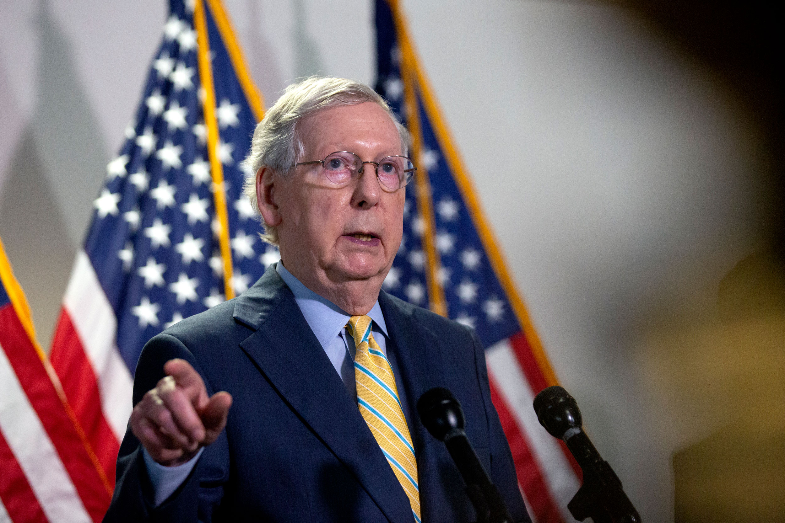 Senate Majority Leader Mitch McConnell speaks during a press conference in the Hart Senate Office Building on June 30 in Washington, DC.