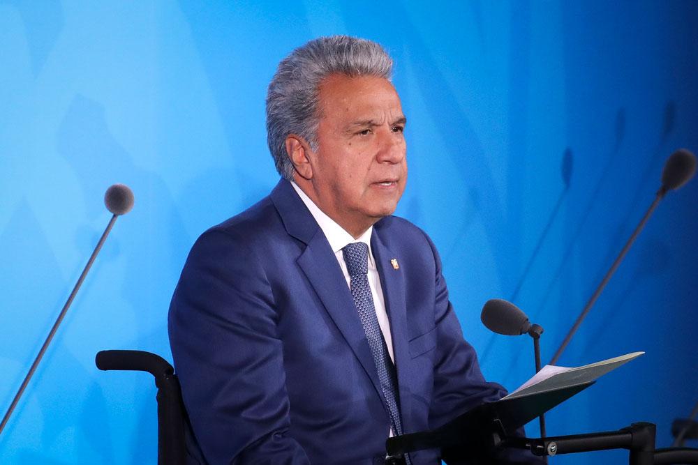 Ecuador's President Lenin Moreno speaks at the United Nations summit on climate change on September 23, 2019 in New York City.