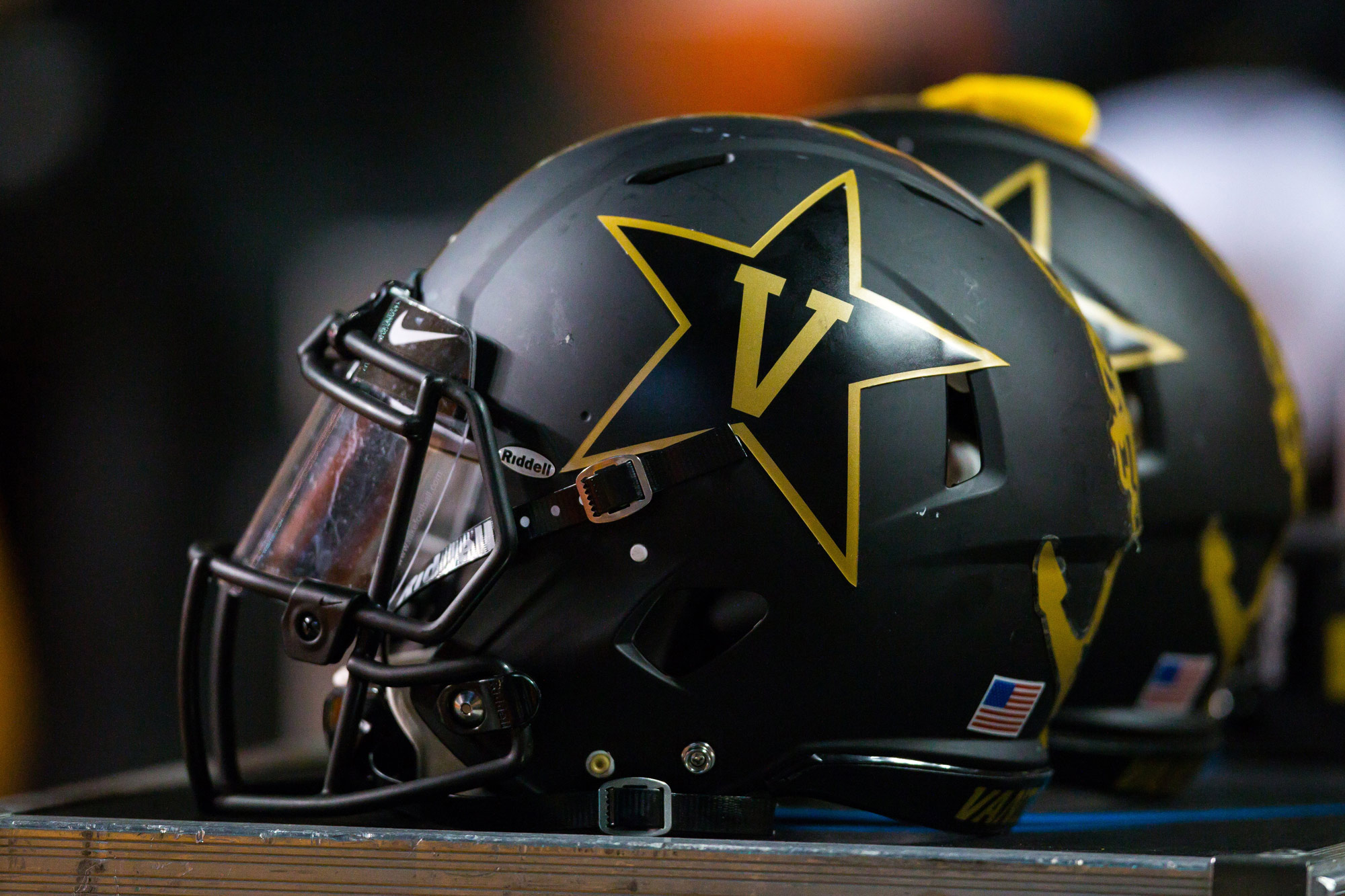 Vanderbilt Commodores helmets are seen during a football game at Neyland Stadium in Knoxville, Tennessee, on November 25, 2017.