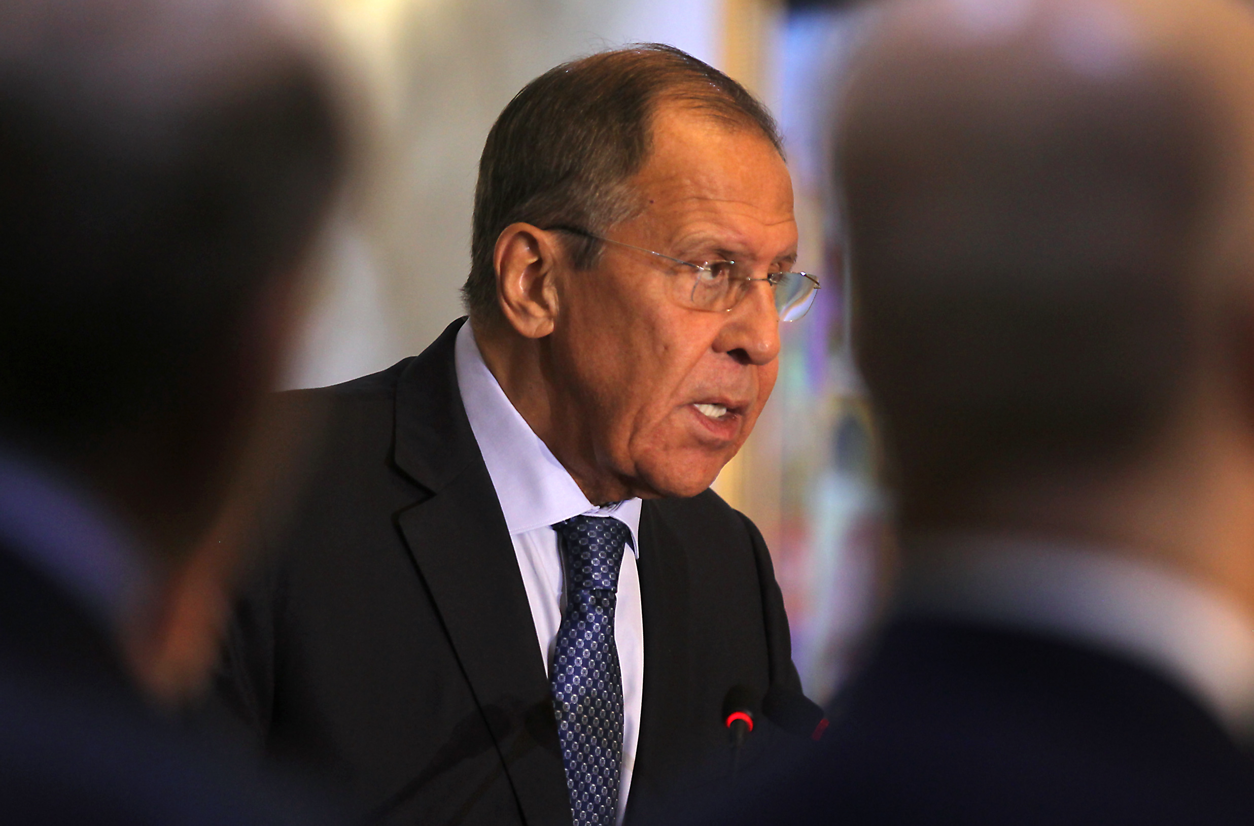 File photograph of Russian Foreign Minister Sergey Lavrov in Baghdad on October 7.
