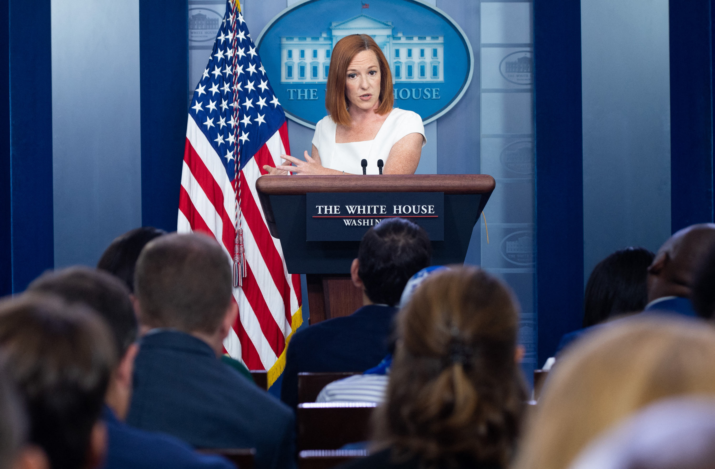 White House Press Secretary Jen Psaki holds a press briefing the Brady Press Briefing Room of the White House in Washington, DC, on July 8.