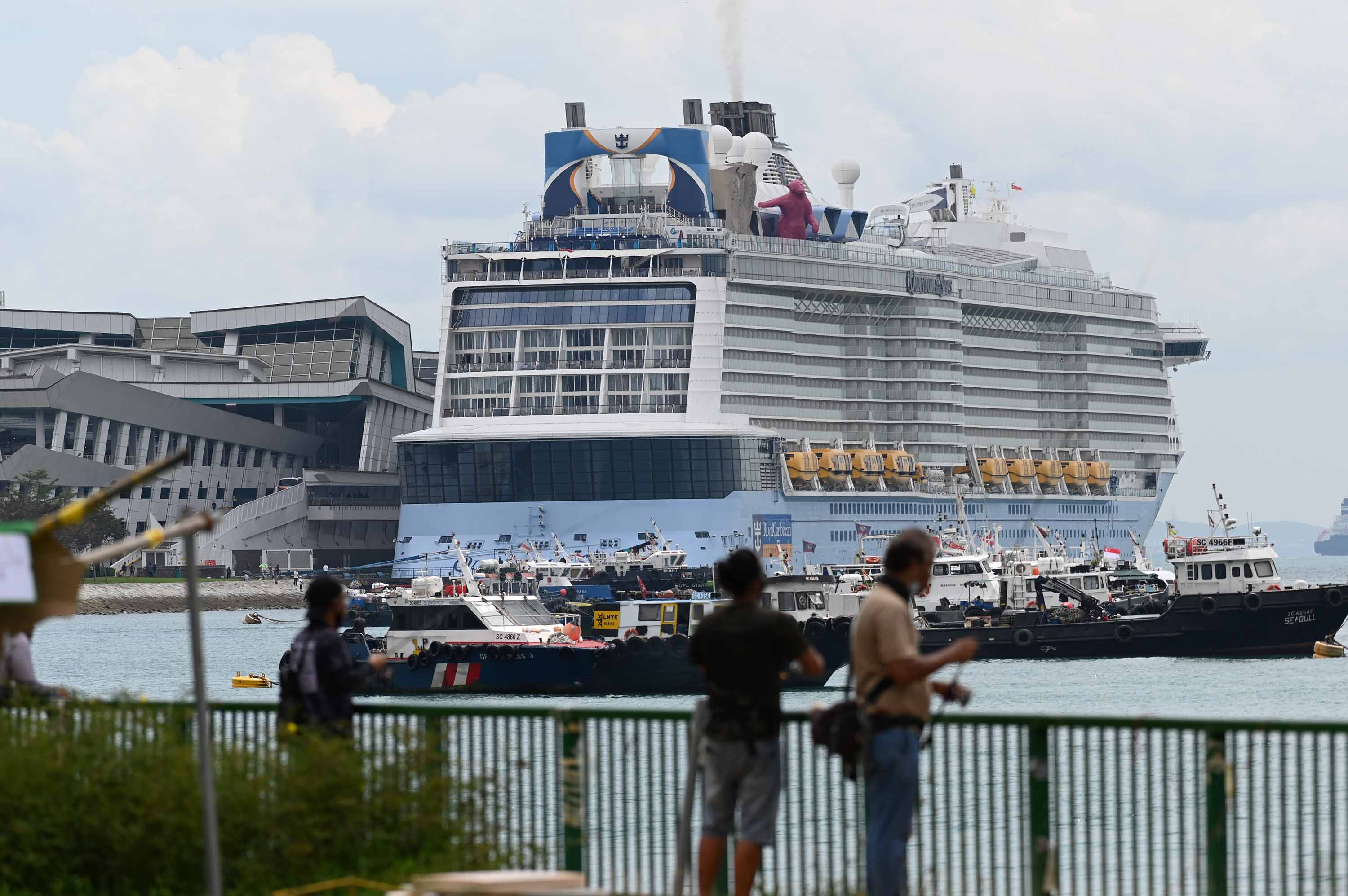 The Royal Carribean International cruise ship Quantum of the Seas is seen docked at Marina Bay Cruise Centre in Singapore on December 9.