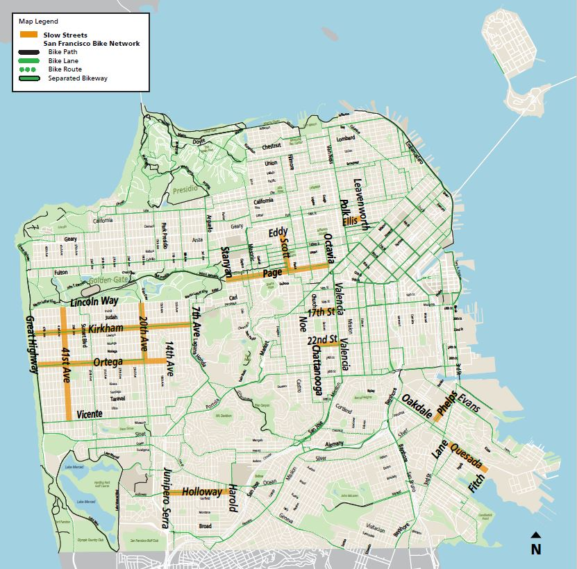 'Slow Streets' that will be partially shut down this week in San Francisco.