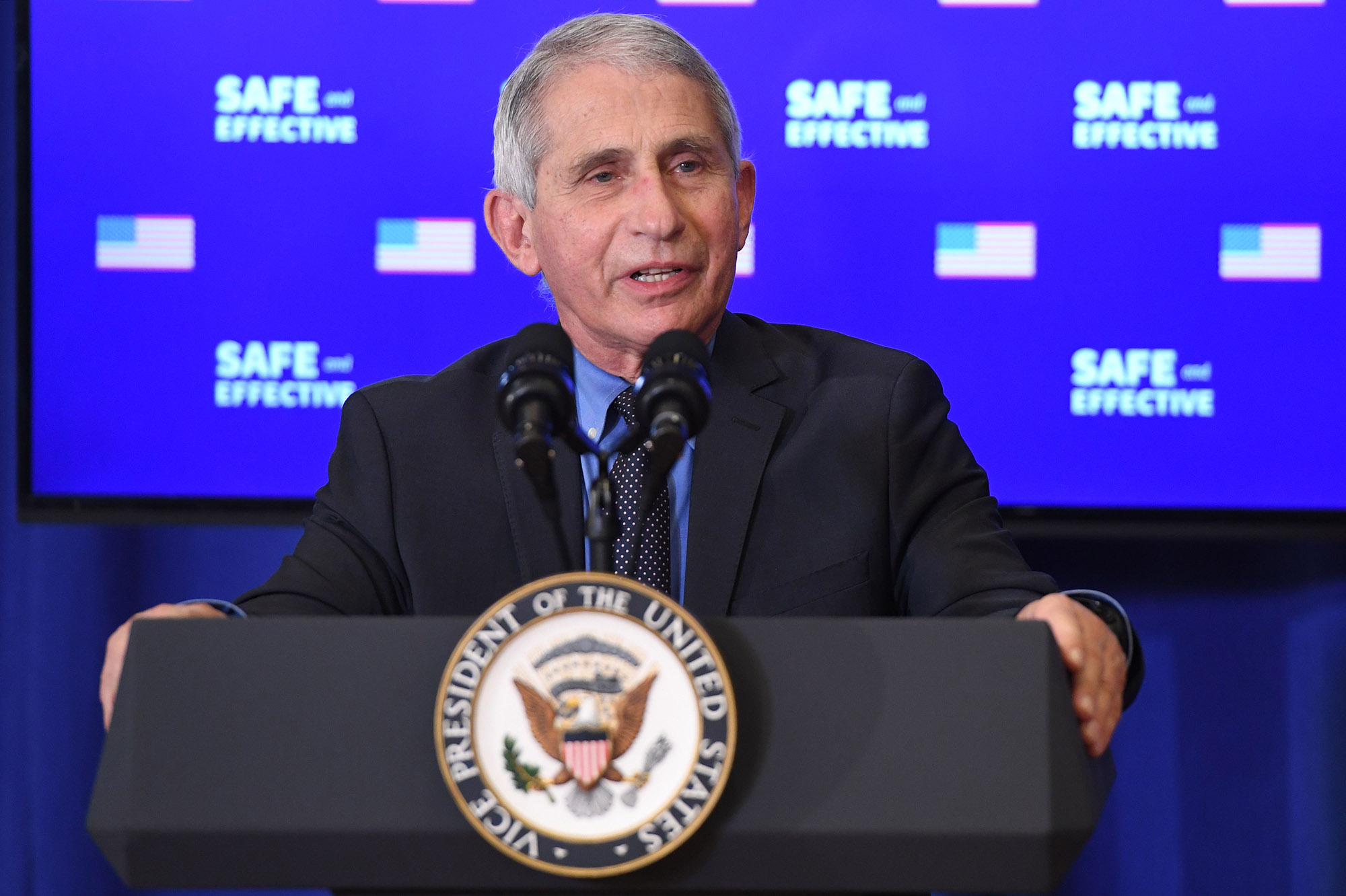 Director of the National Institute of Allergy and Infectious Diseases Anthony Fauci speaks at the Eisenhower Executive Office Building in Washington DC, December 18.
