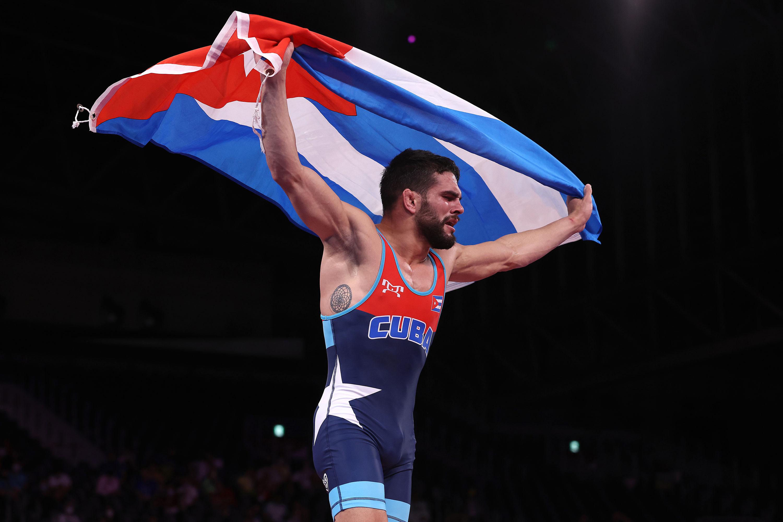 Cuba's Luis Orta Sanchez celebrates winning gold in the Greco-Roman 60-kilogram final on August 2.