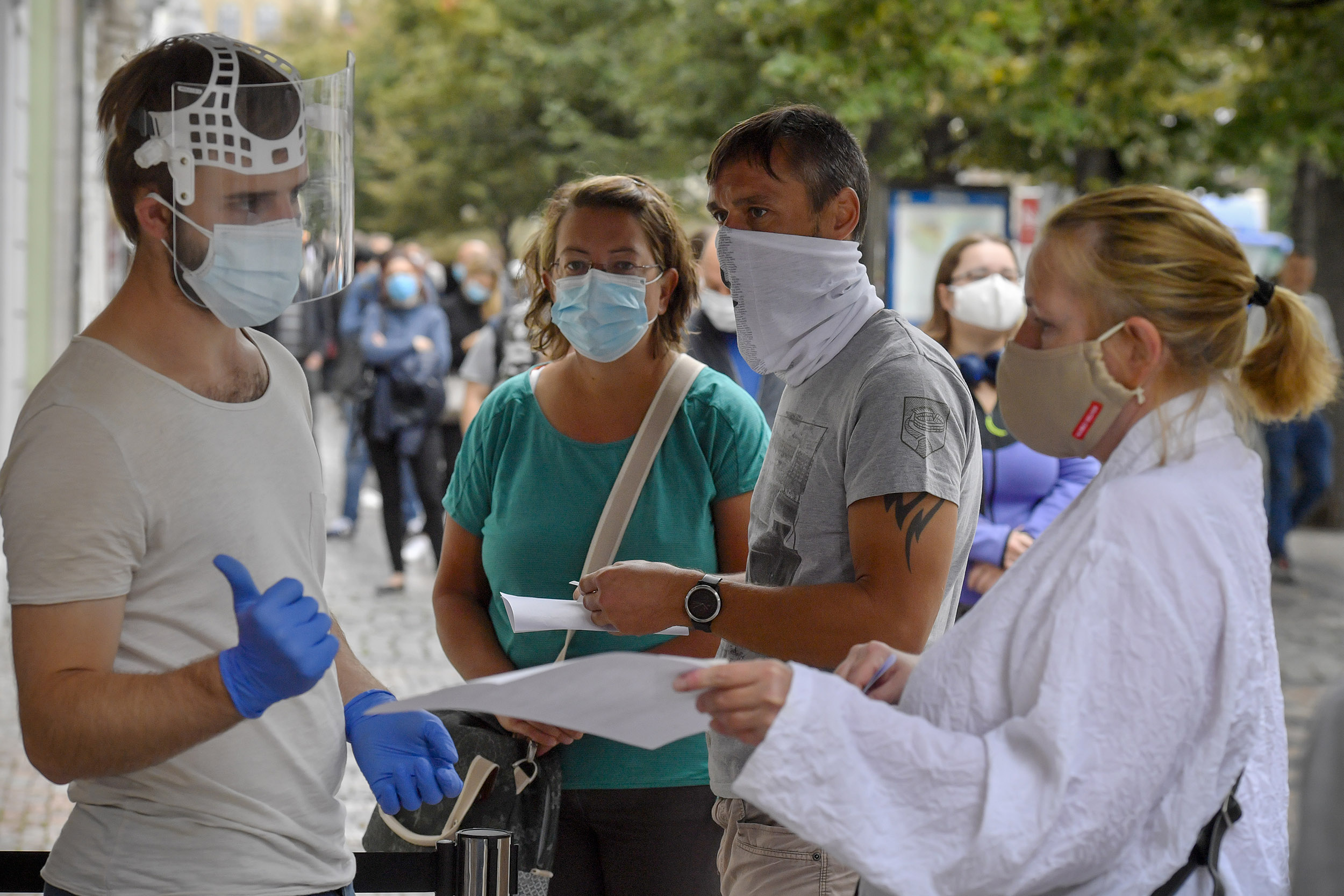 People wait to get tested at COVID-19 testing site in Wenceslas Square in Prague, Czech Republic, on September 10, 2020.